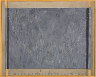 Jasper Johns (2002)  Study for a Painting.  Encaustic on linen and wood with metal and string. 160.7 x 198.8 x 15.2 cm.