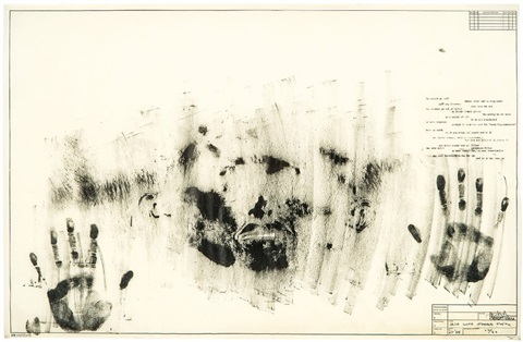 Jasper Johns (1963-65)  Skin with O'Hara Poem.   Lithograph. 55.9 x 86.4 cm.