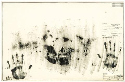 Jasper Johns (1963-65) Skin with O'Hara Poem.  Lithograph. 55.9 x 86.4 cm.