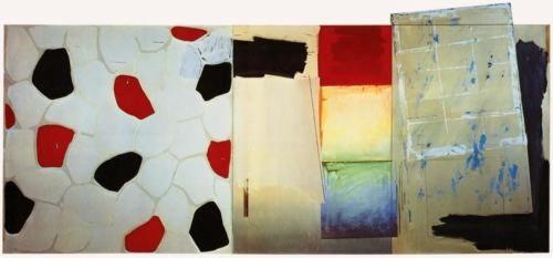 Jasper Johns (1967) Harlem Light. Oil and collage on canvas (four panels). 198.1 x 436.9 cm.