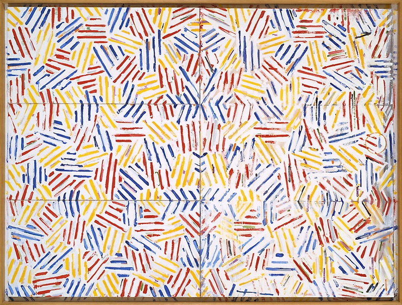 Jasper Johns (1974/75) Corpse and Mirror II. Oil on linen (four panels), with painted frame. 146.4 x 191.1 cm.