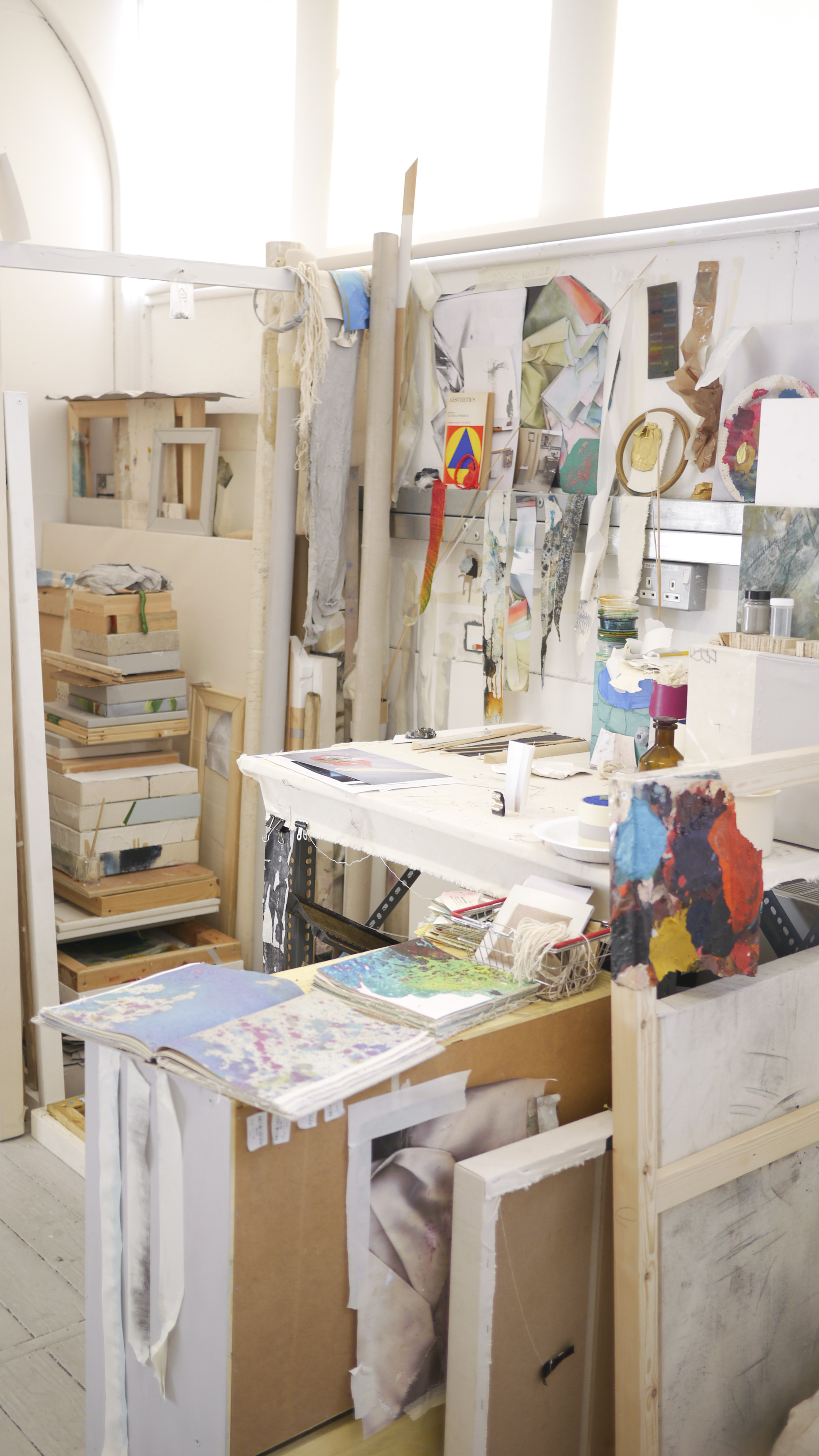 Ally McGinn (2017) Studio documentation.   A detail shot of the space behind the canvas wall, a space of storage and potential.   There is something brilliant about this. It is an organic, aesthetically unconsidered (for the most part) installation. Ordered chaos.