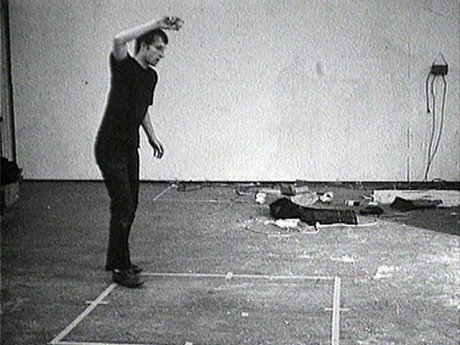 Bruce Nauman. (1967-68) Bouncing Two Balls Between the Floor and Ceiling with Changing Rhythms. 16mm film transferred to video (black and white, sound). 10 min.