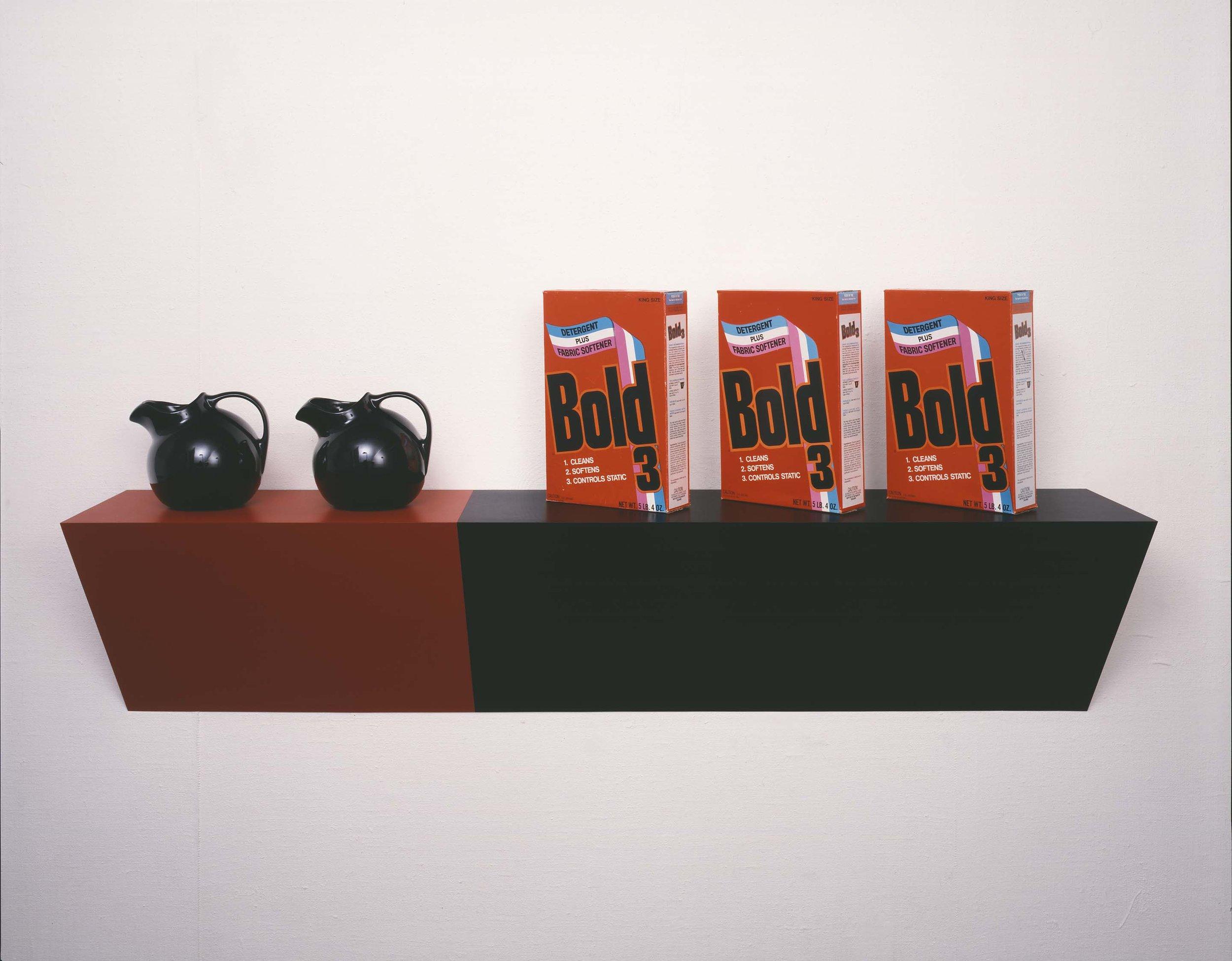 Haim Steinbach (1985) Supremely Black . Mixed Media.78.7 x 167.6 x 33 cm