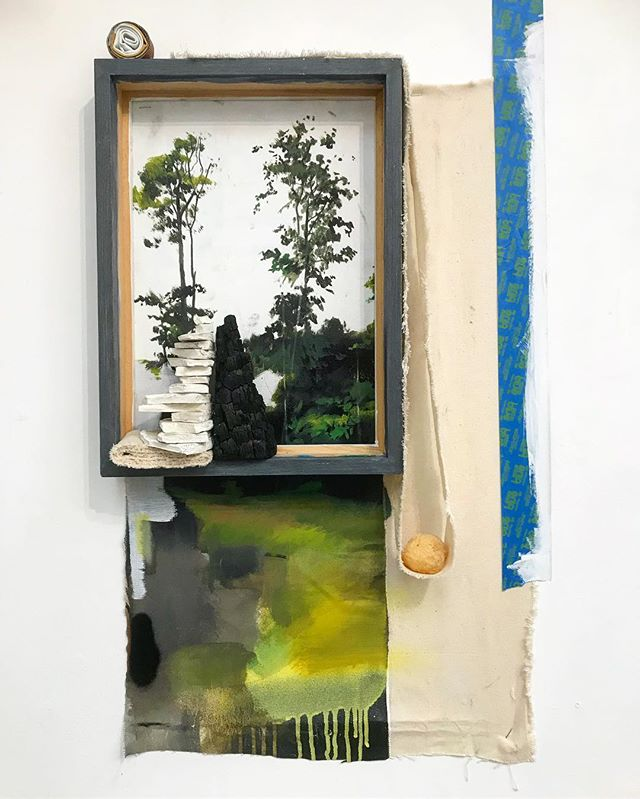 I thought I'd share one of the pieces currently inhabiting my studio wall. A landscape WIP. Currently in the stage of addition before I begin subtraction.  Representational subject matter comes into my work on occasion.  Object painting experiments continue.  All objects contained are unwanted, excess, failures, or incidental.  #art #studio #wip #photooftheday #artwork #composition #contemporary #sculpture #abstractart #contemporarypainting #contemporaryart #evolving  #fineart  #installation #juxtaposition #kunst #representation #painting #placement #contemporarysculpture #emergingartist #unwanted #artforsale #studio #contemporaryinstallation #kunstwork #minimalism #nomination #thisisart