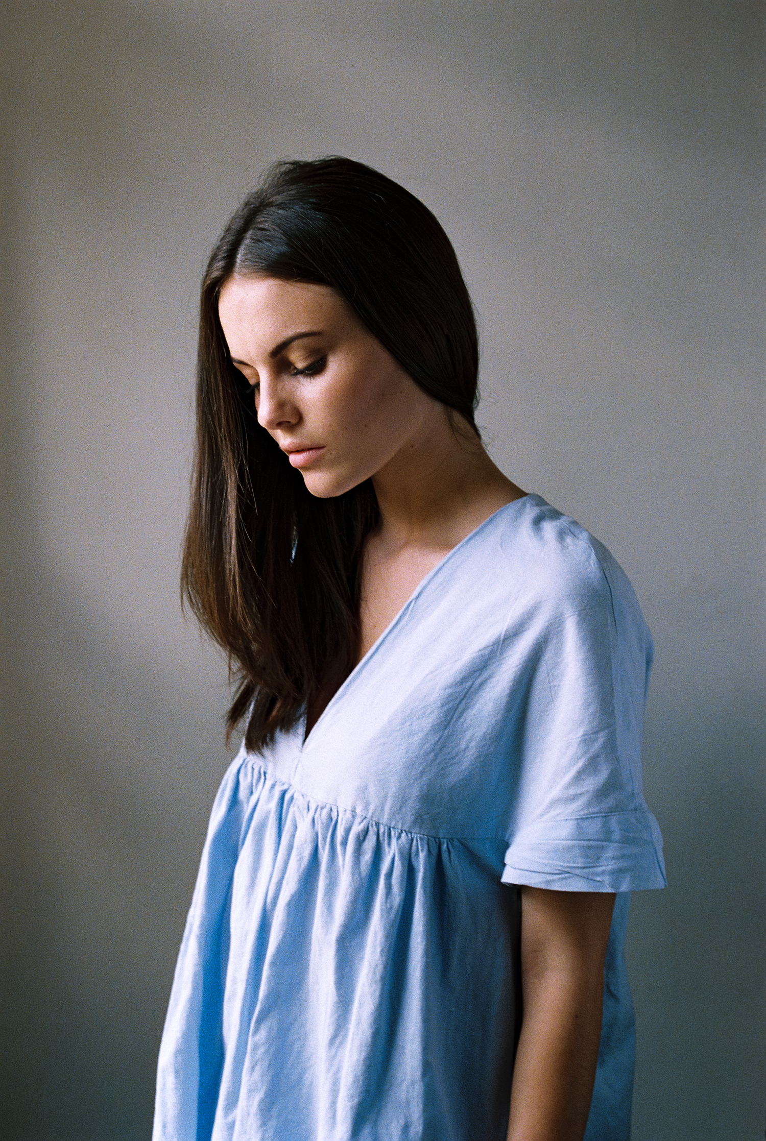 Model test session shot on Kodak Portra 400 film. By Dmitry Serostanov