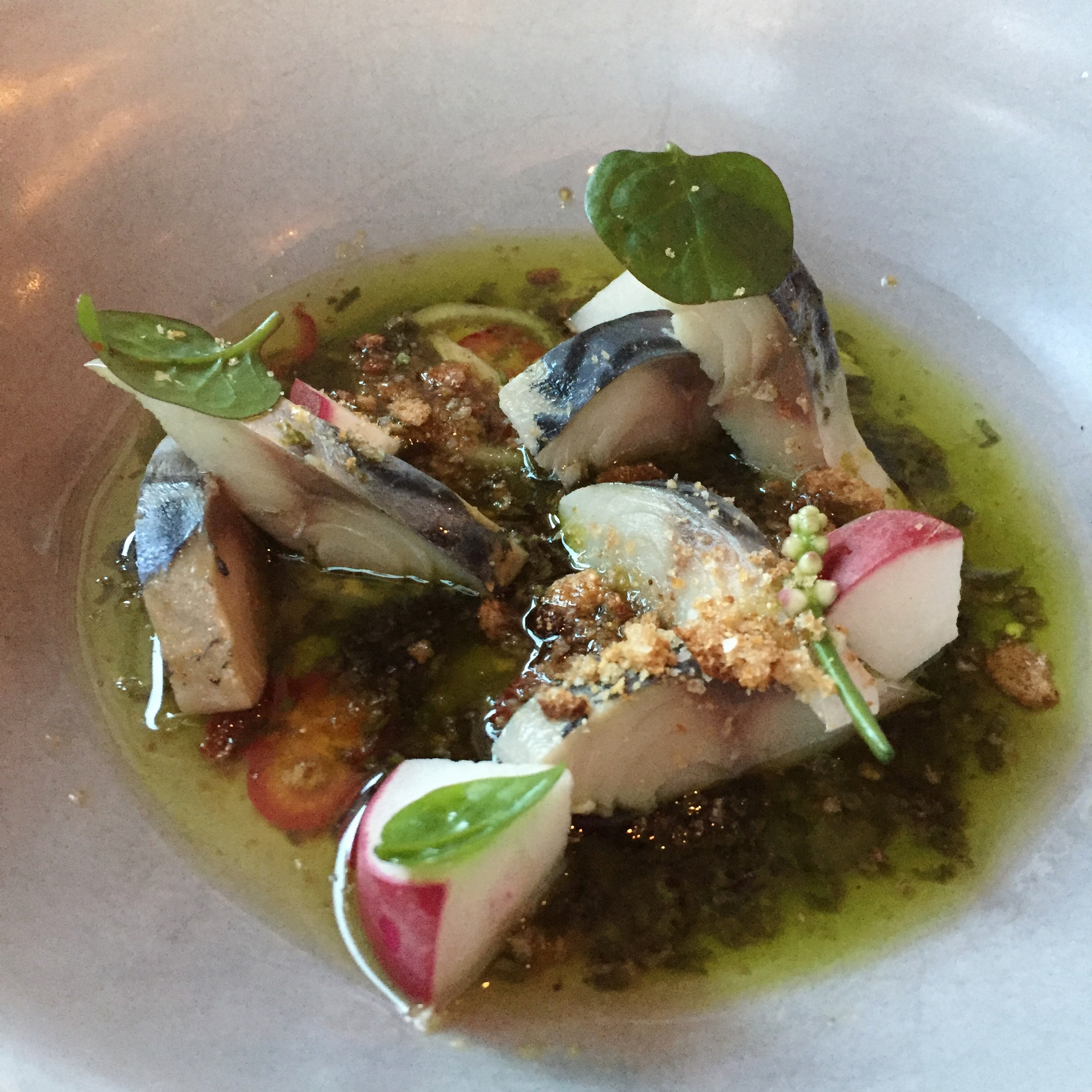 Cured Mackerel, Charred Fennel Broth, Basil, Pecans, Bread Crumbs - $11