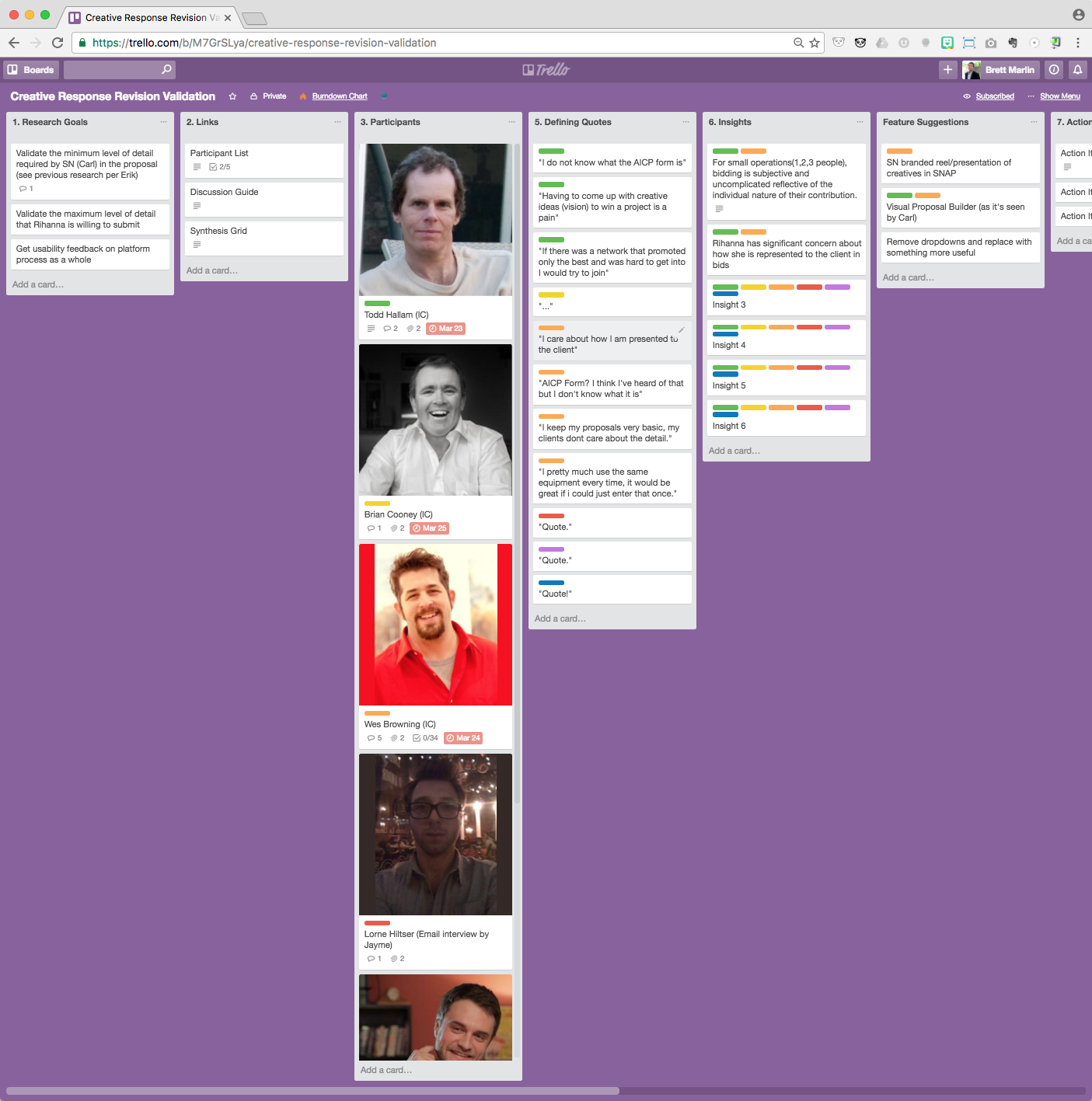 StudioNow Research Sprint Board