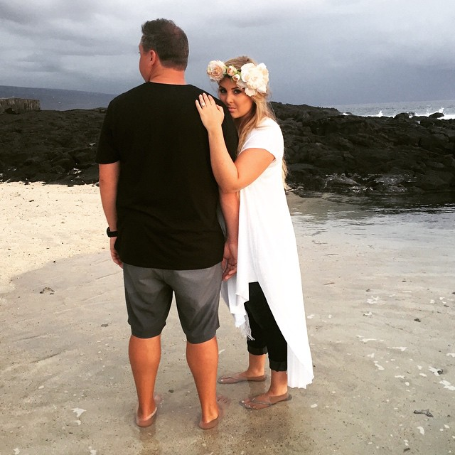 Katie Laines Design and Coordination Engagement Shoot on The Beach in Hawaii with Husband Anton Flower Crown
