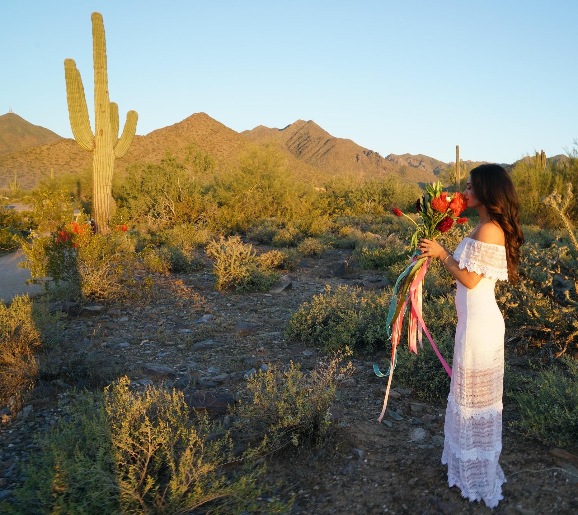 Design and Coordination Wedding Planner Styled Photoshoot Arizona Golden Hour Sunset Cactus Bride Bouquet