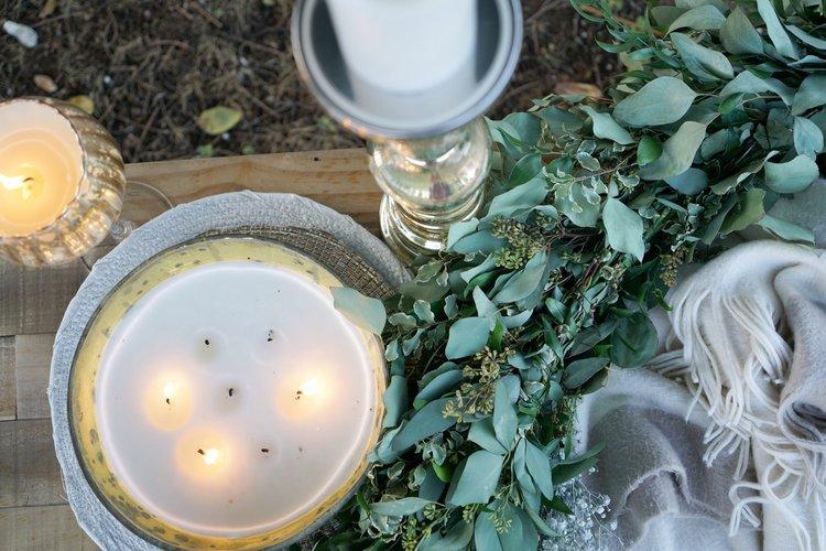 Katie Laines Shabby Chic Cozy Candlelit Rustic Blanket Photoshoot Backyard Wedding Planner