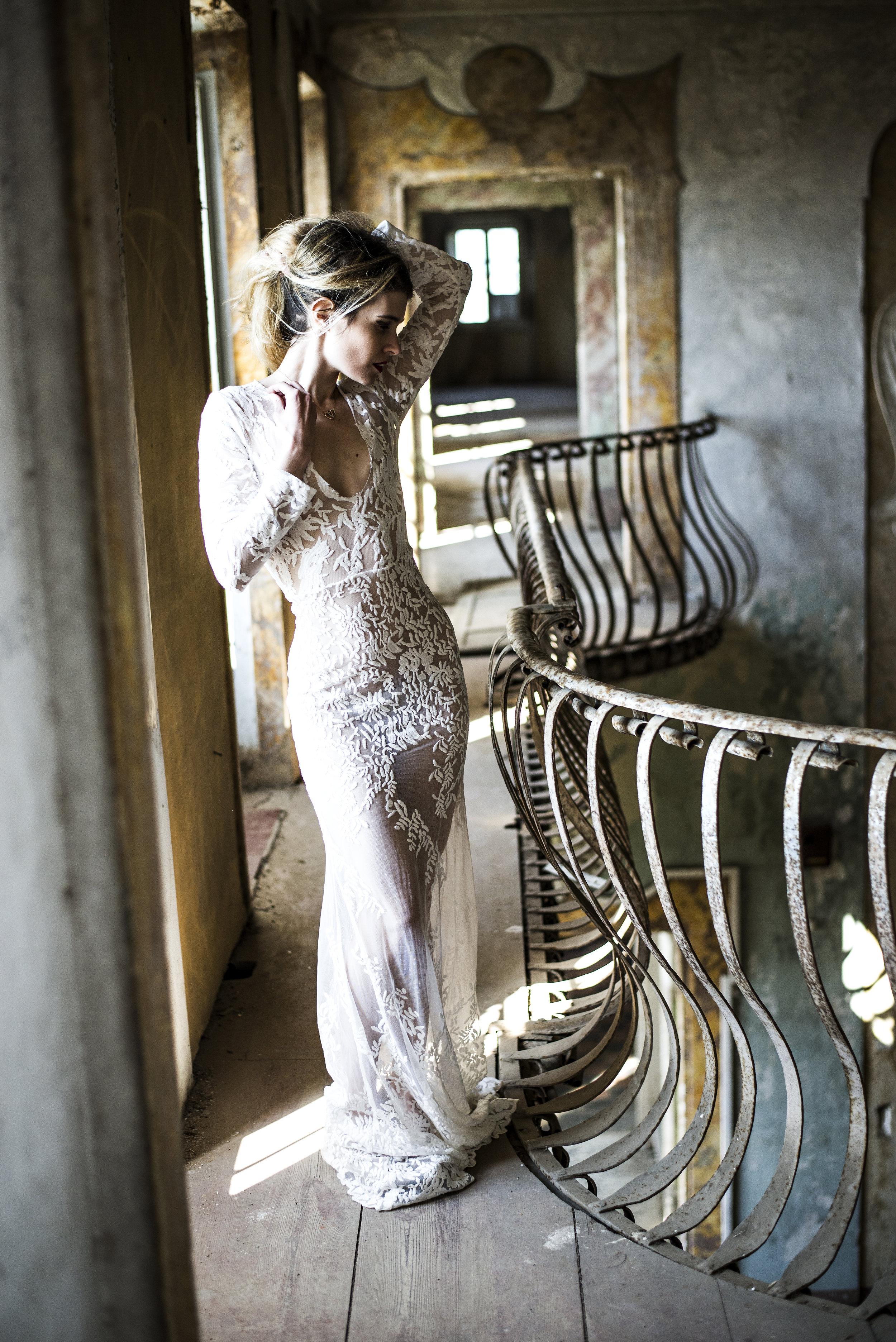 Lace Wedding Dress Bride Boho Bohemian French Inspired