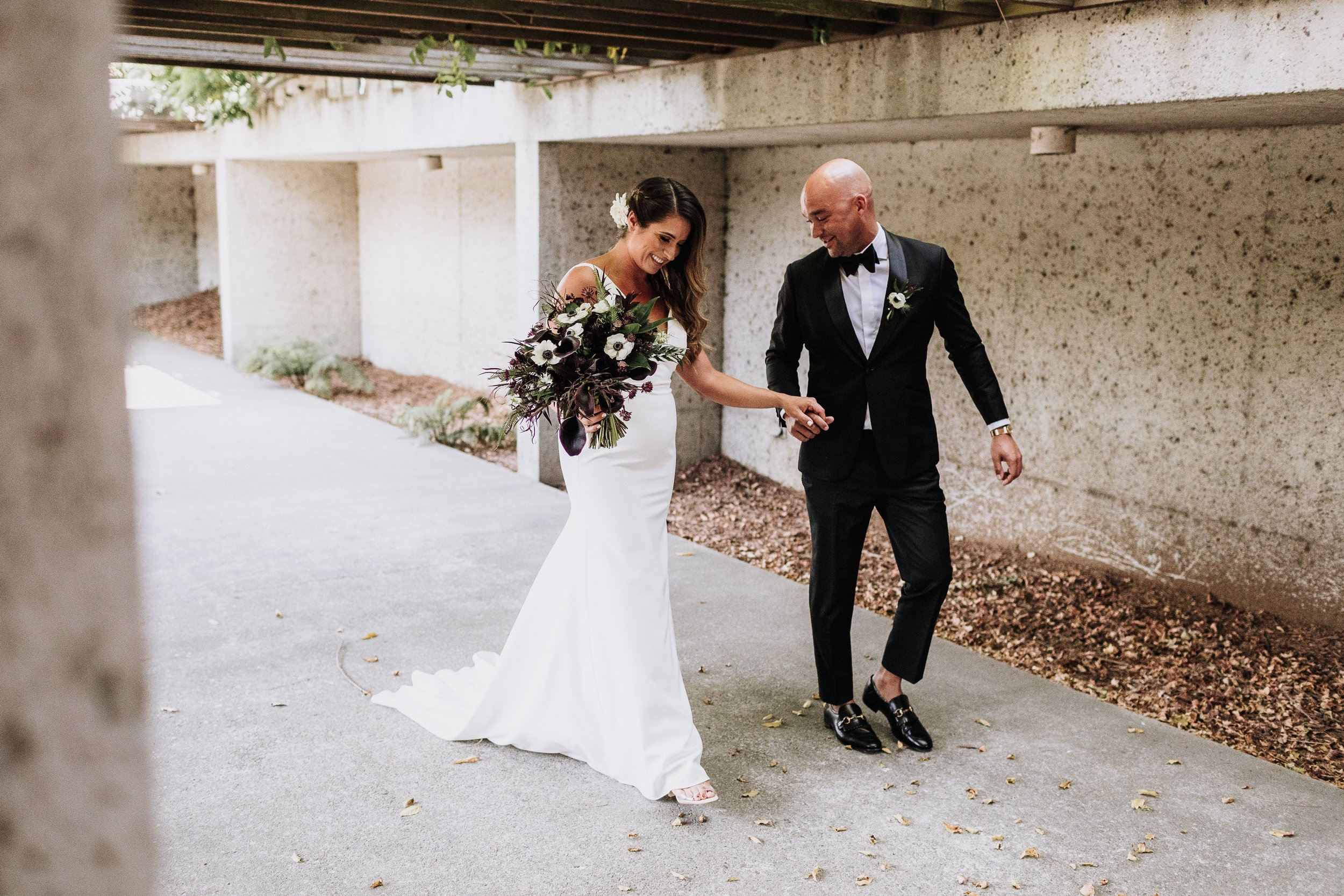 Walking Together Bride and Groom Concrete Jungle Oakland Museum of California KLdc