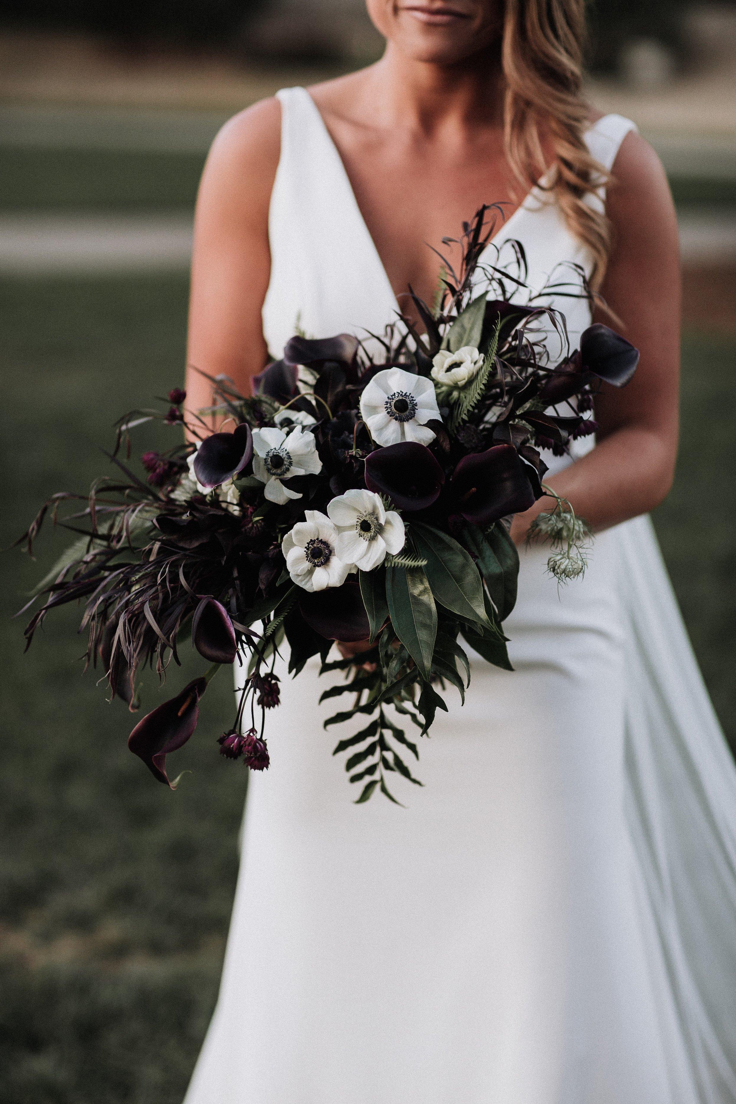 Dark Moody Bridal Bouquet Anemone Black Lily Oakland Museum of California KLdc