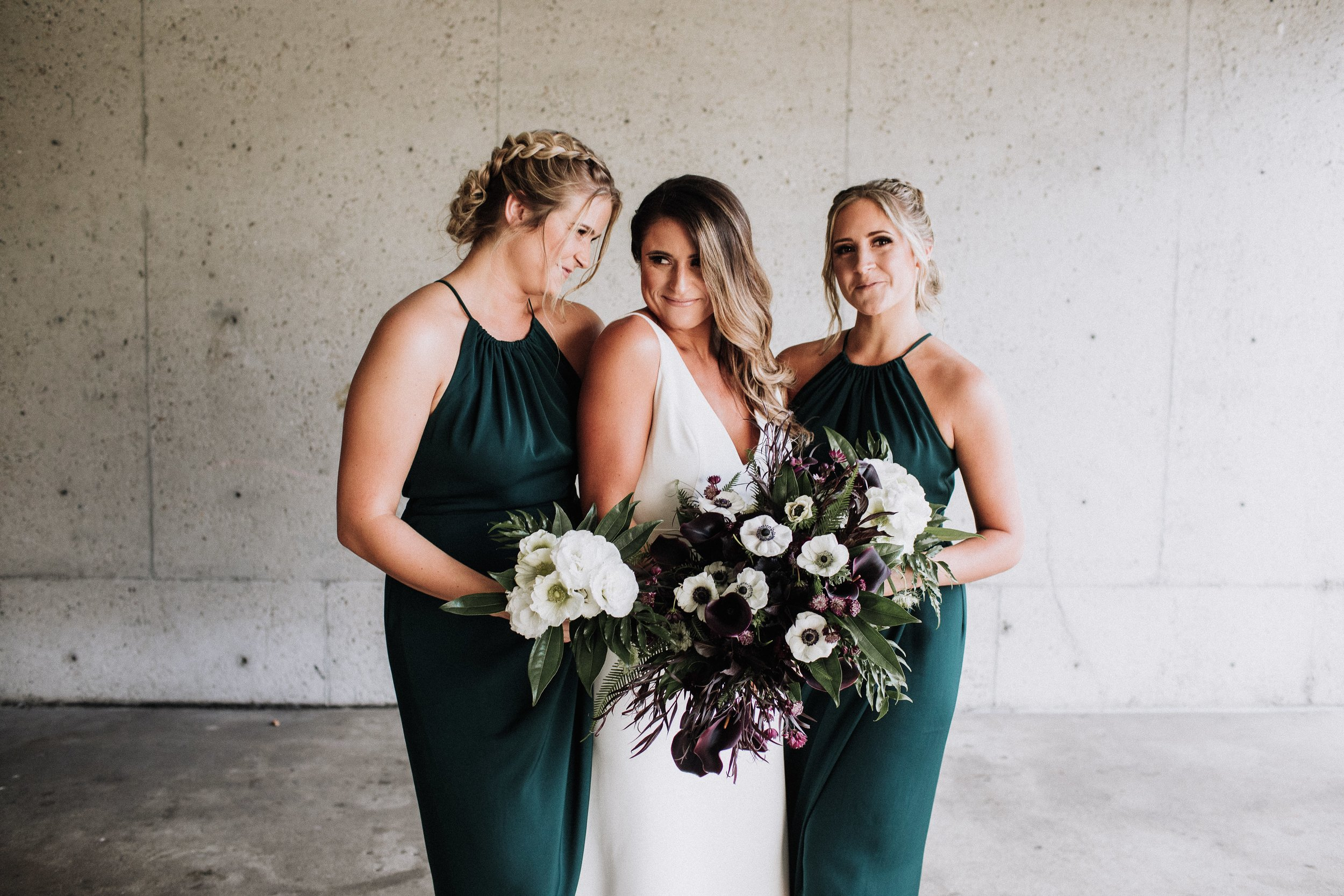 Bride with Bridesmaids Sisters Dark Green Dresses Bouquets Oakland Museum of California Katie Laines design + coordination