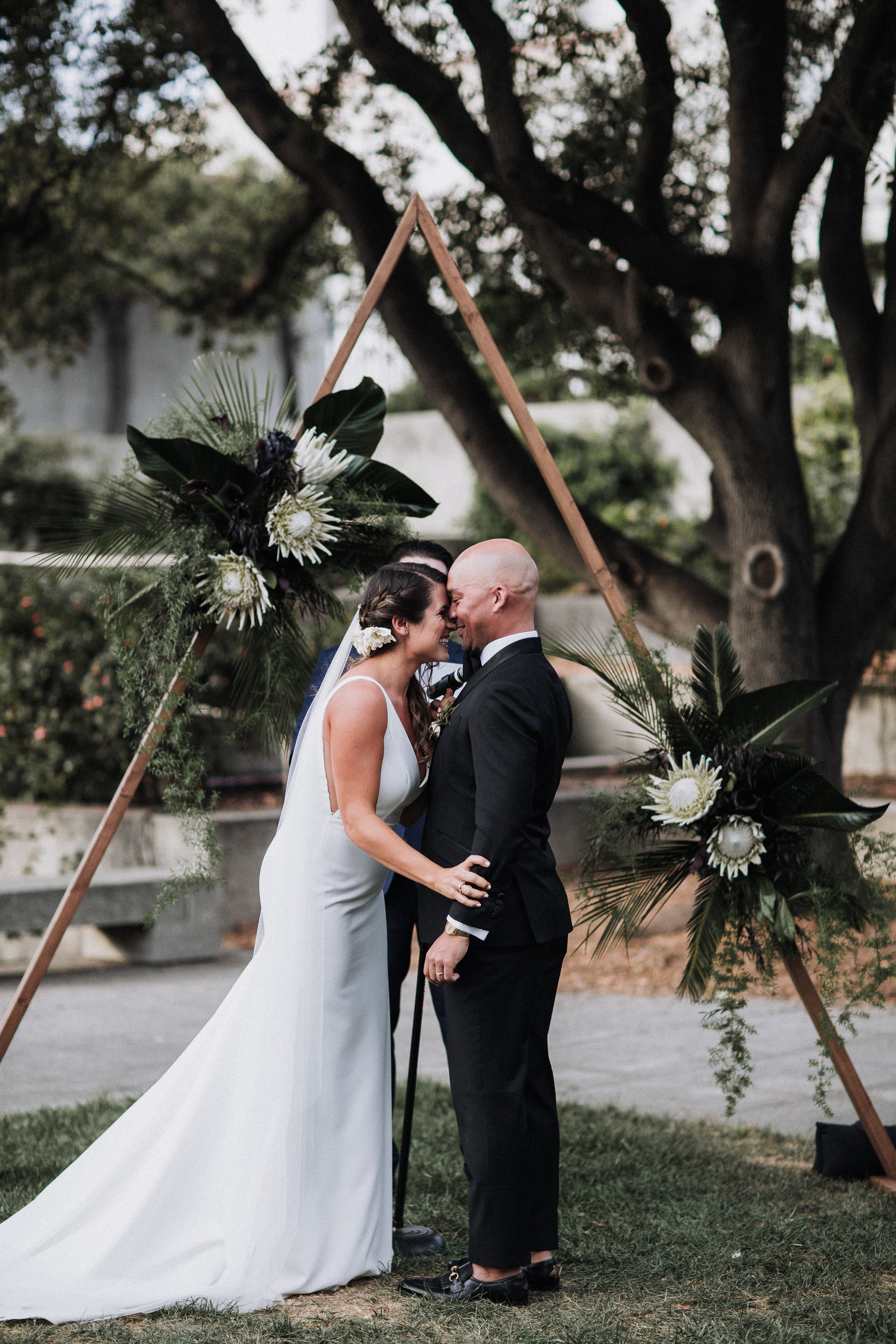 Just Married So Happy Ceremony After Kiss Oakland Museum of California Wedding Katie Laines design and Coordination