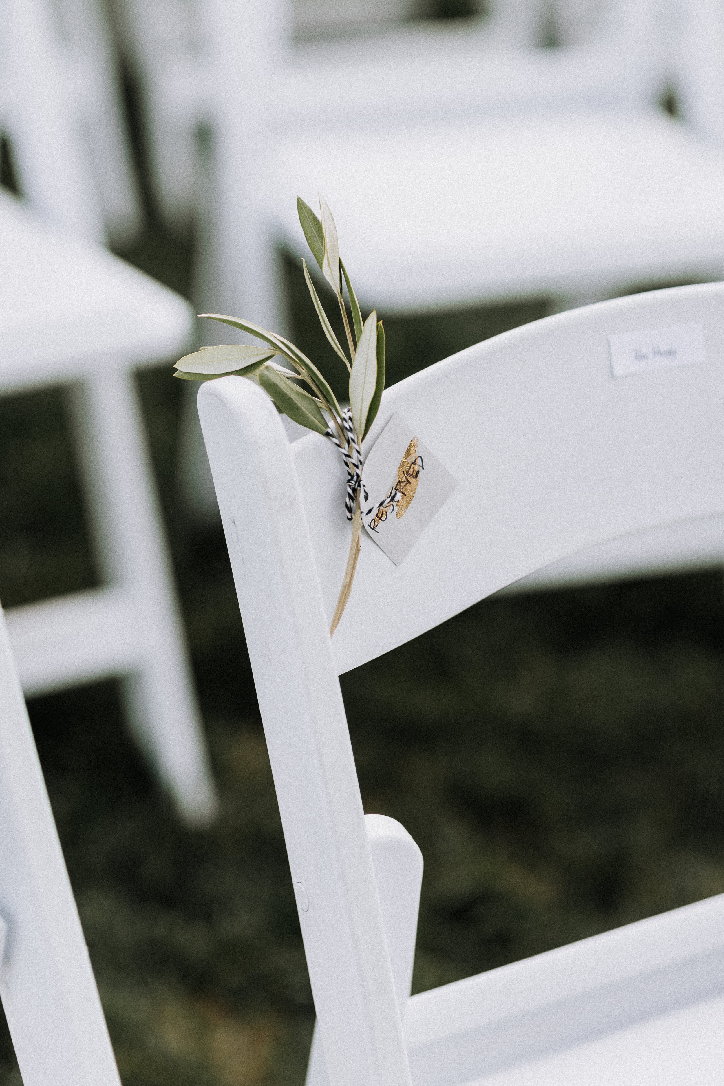 Saved Seat Wedding Reception Rosemary Sprig Reserved Oakland Museum of California Katie Laines design and coordination