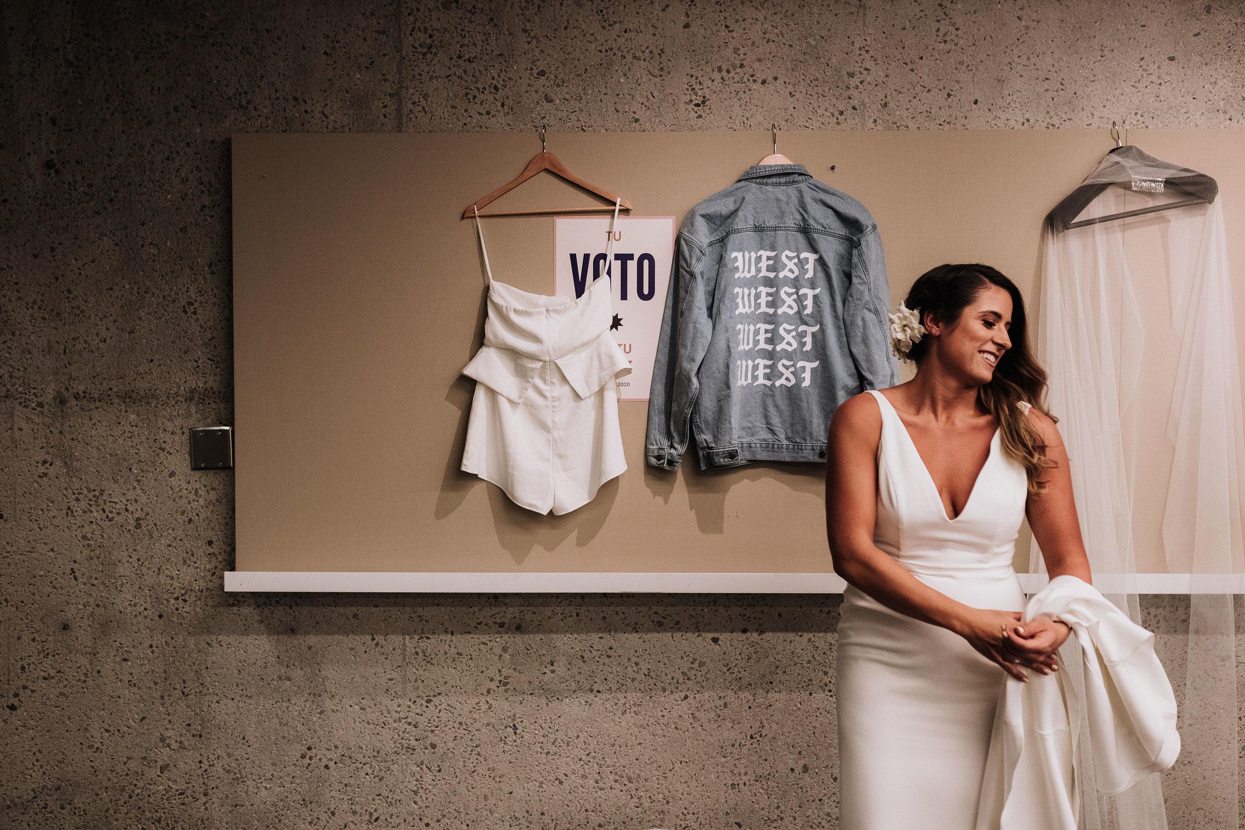 West Jean Jacket Wedding Bride Outfit Change KLdc