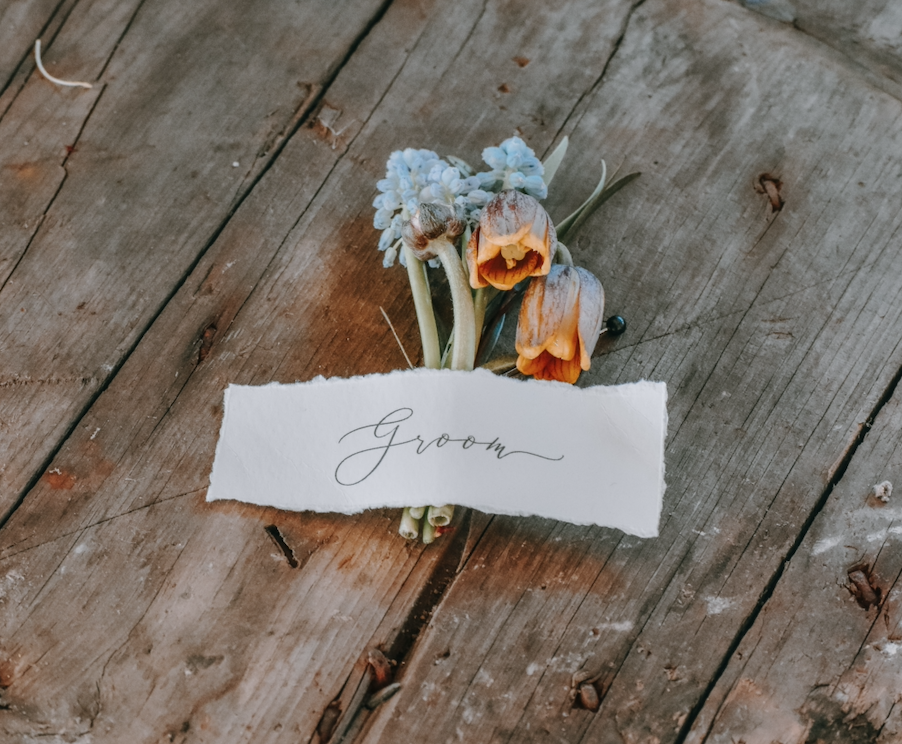 Personalized Groom Boutonniere Orange and Blue Katie Laines Design and Coordination