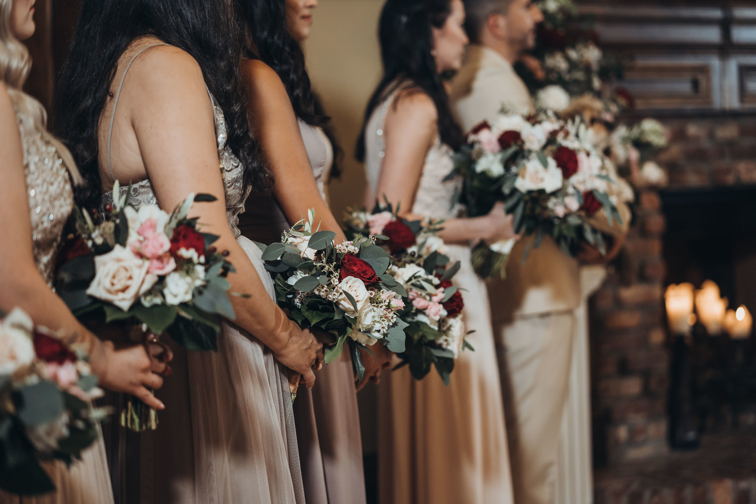 Bridesmaids Holding Bouquets Indoor Wedding