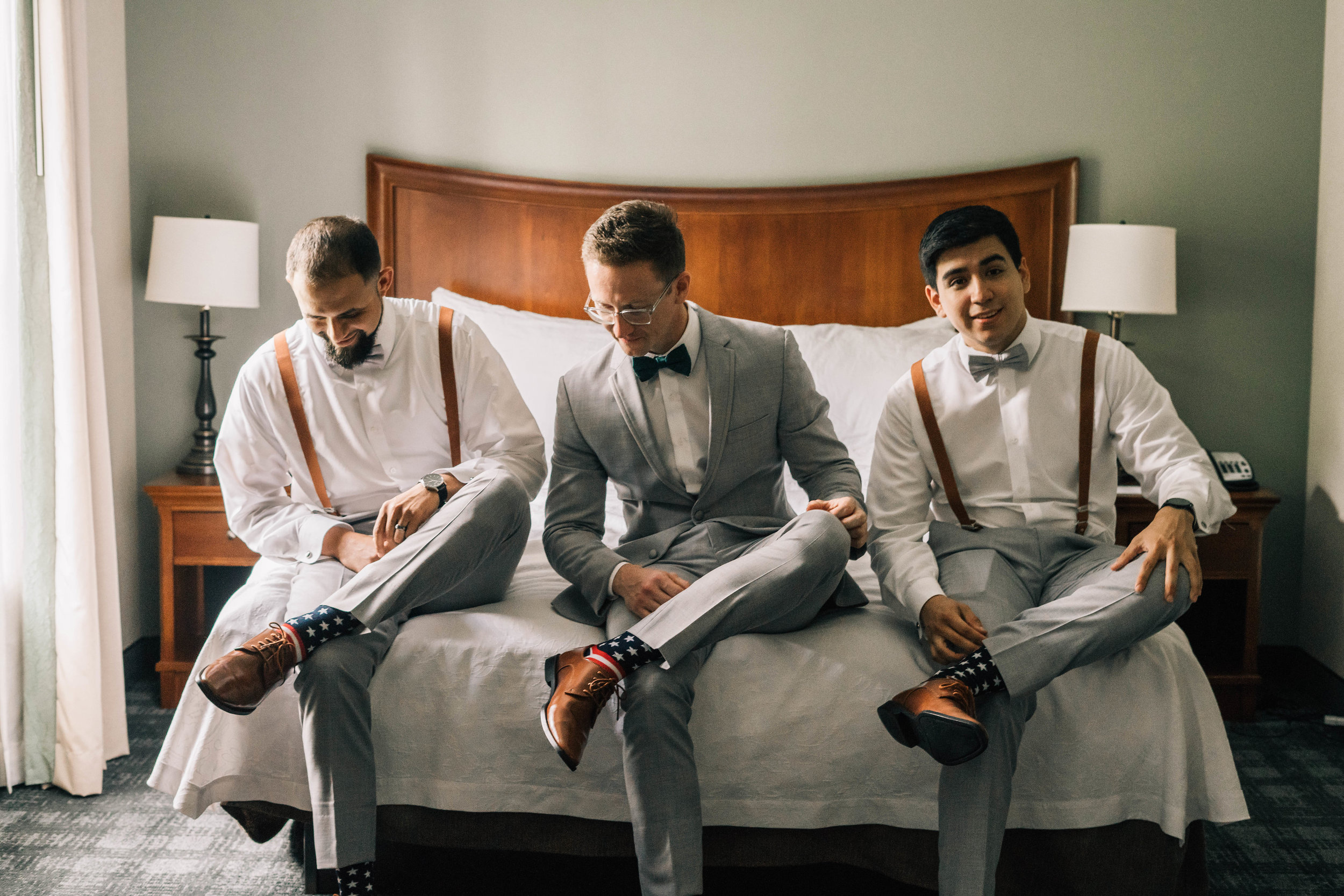 Best Men And Groom Getting Ready Putting On Shoes