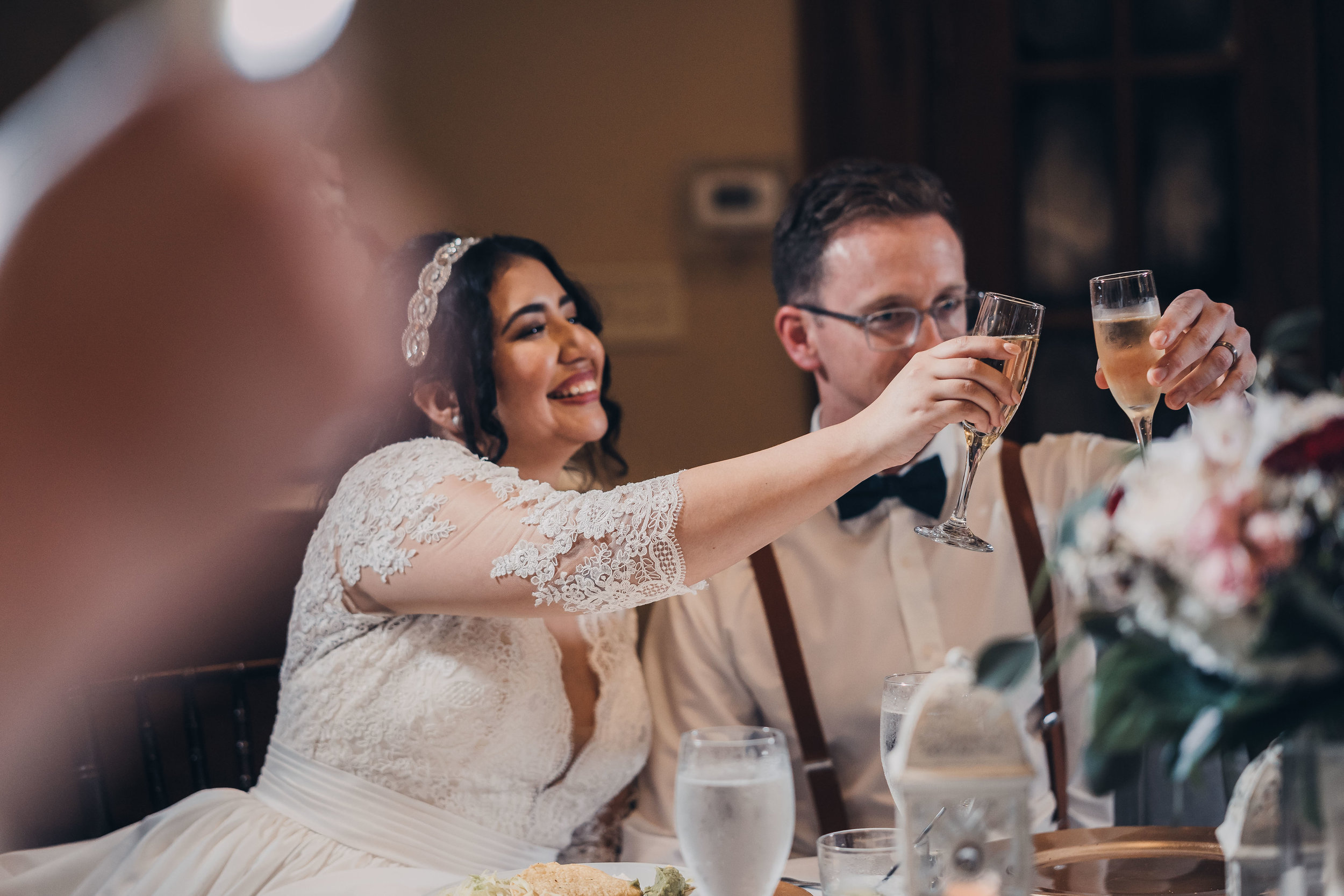 Wedding Toast Cheers Sweetheart Table Champagne