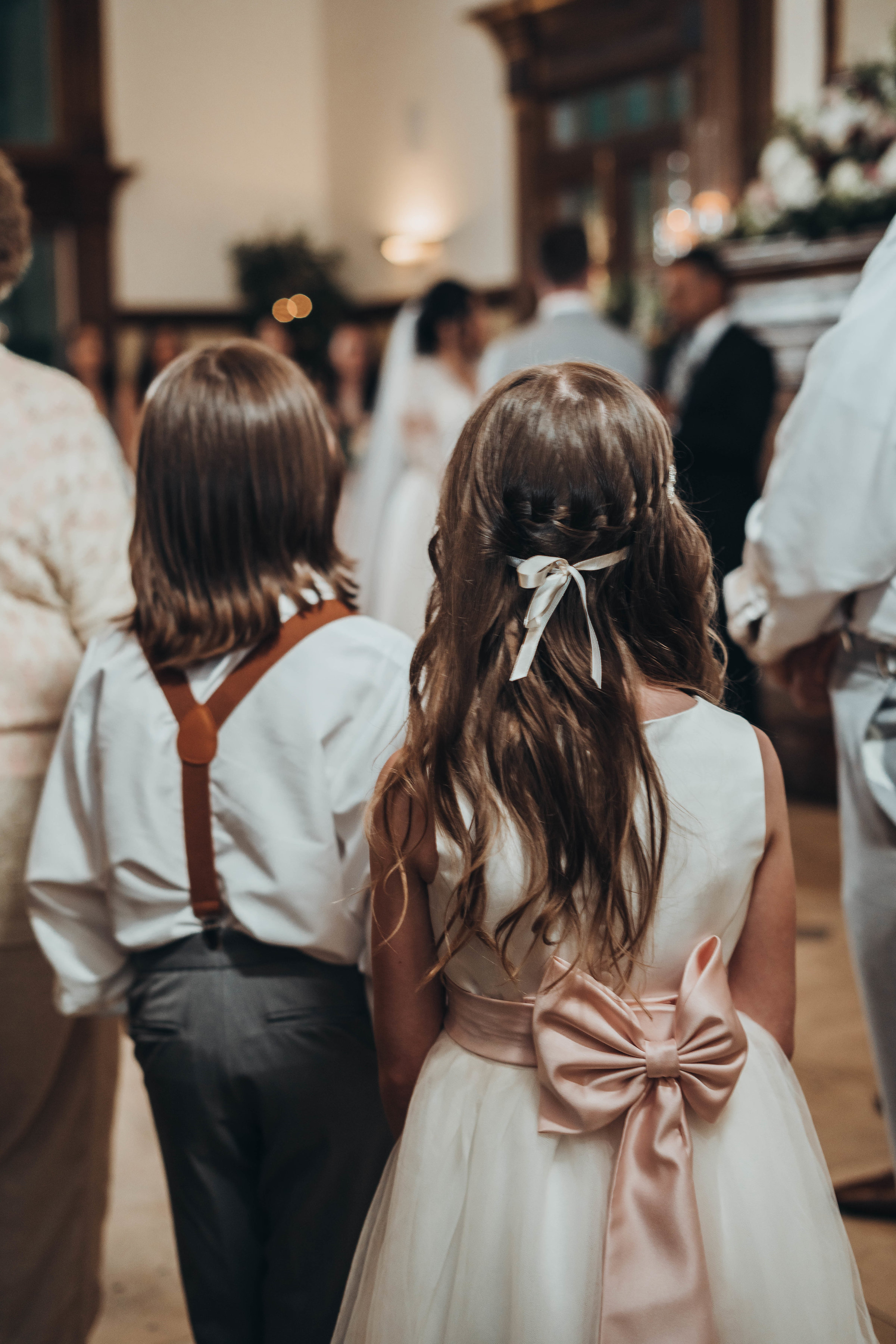 Groom's Children Ring Bearer and Flower Girl Watching Dad Get Re-Married Kids