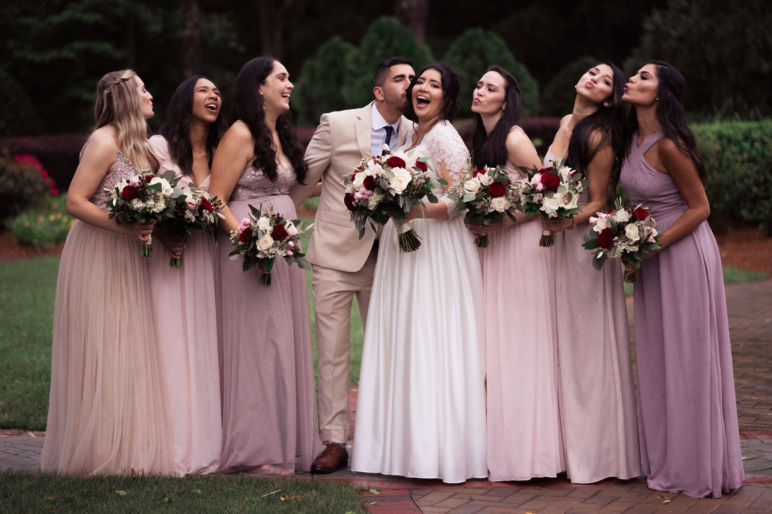 Bridesmaids and Man of Honor With Bride Purple and Pink Dresses Ombre