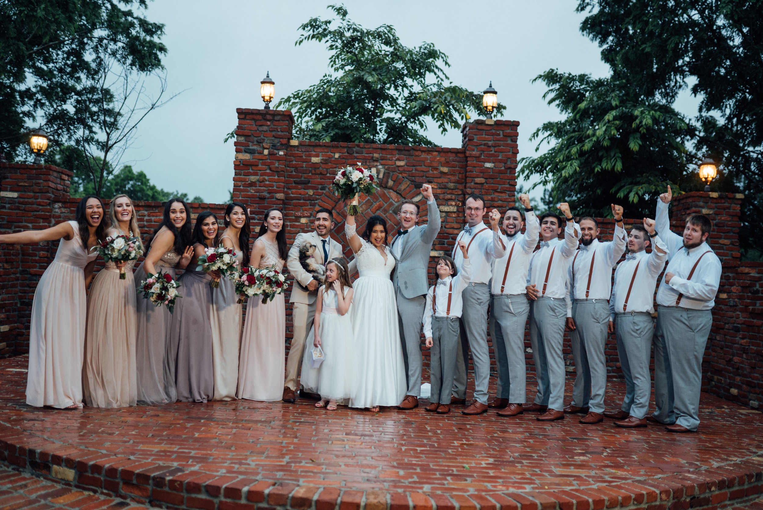 Large Wedding Party Brick Wall Background