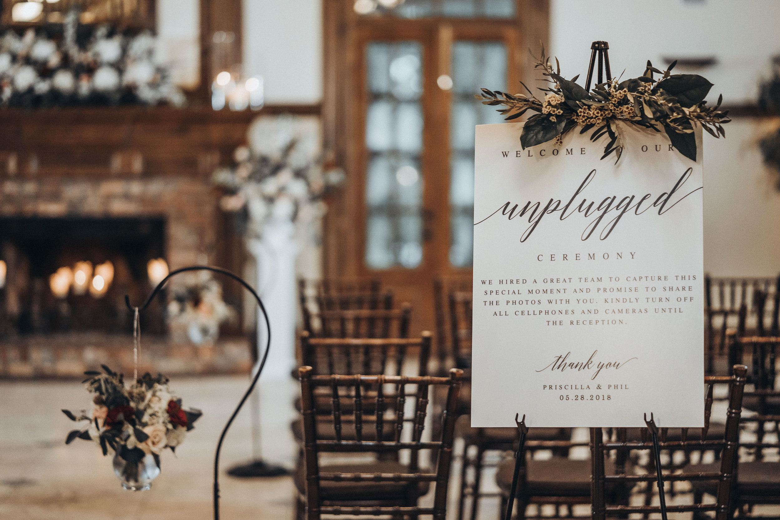 Unplugged Ceremony Sign White Modern Calligraphy A-Fram Poster