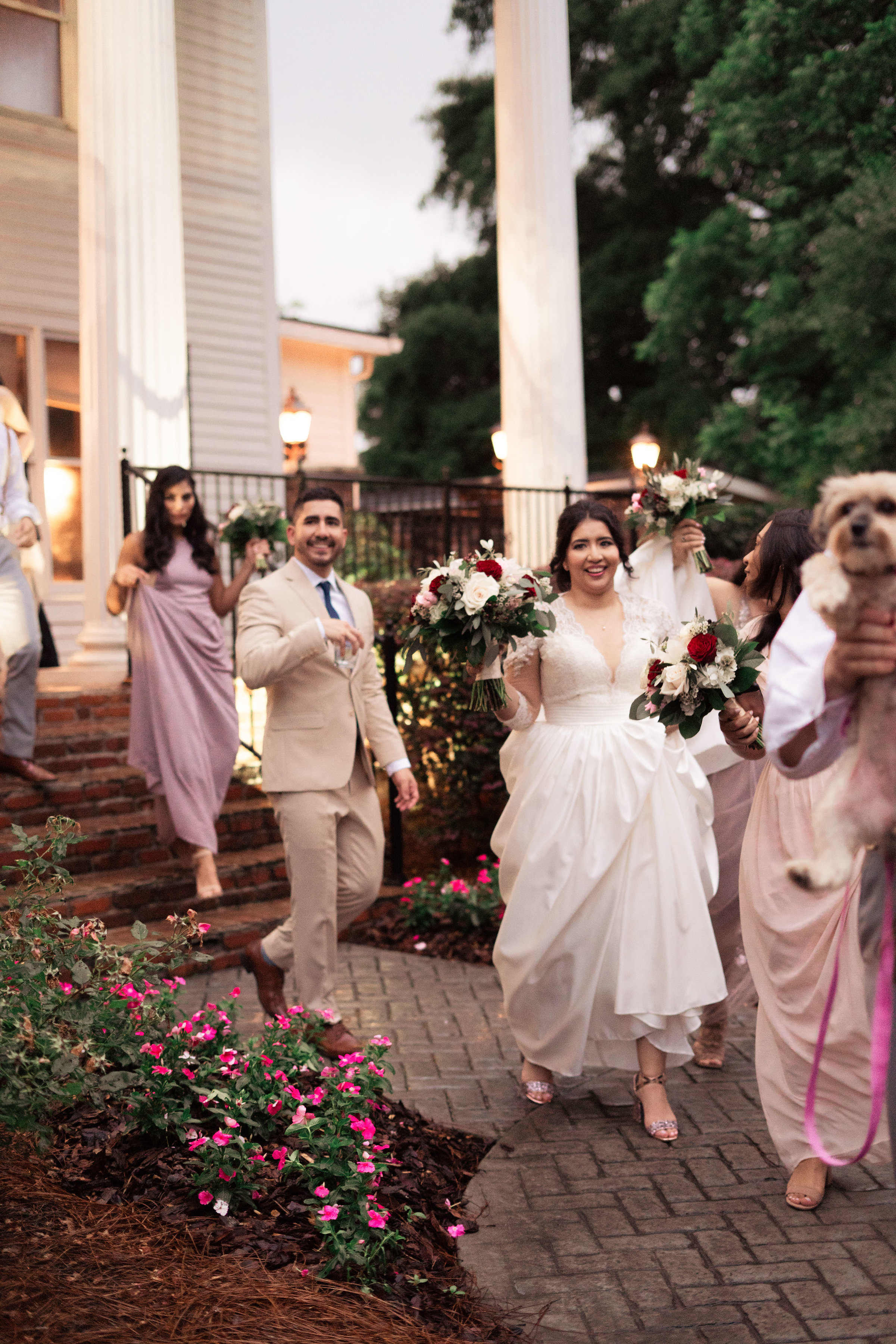 Bridal Party On Their Way To The Ceremony Chapel