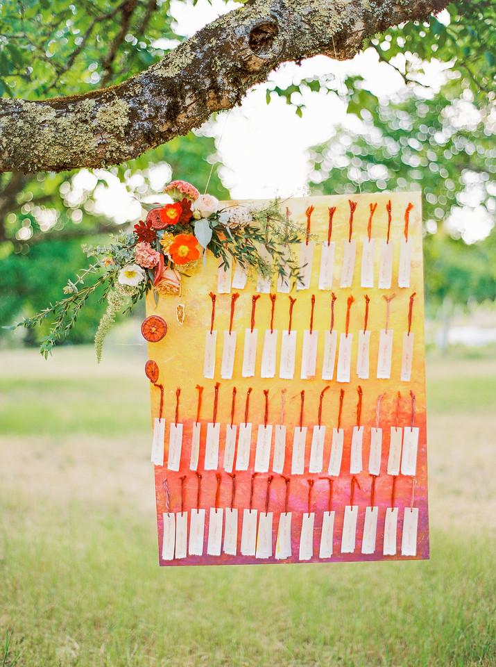 Seating Chart Escort Card Display Sunset Ombre Ribbon Sherbert Citrus Colors Hand Painted DIY Ombre Sunset Golden Hills California Wedding