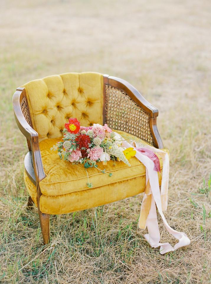 Mustard Yellow Velour Velvet Vintage wingback Chair One Tru Love Rentals Furniture California Golden Hills Wedding Bouquet Bride Flowers Party Crush Studio Ribbon
