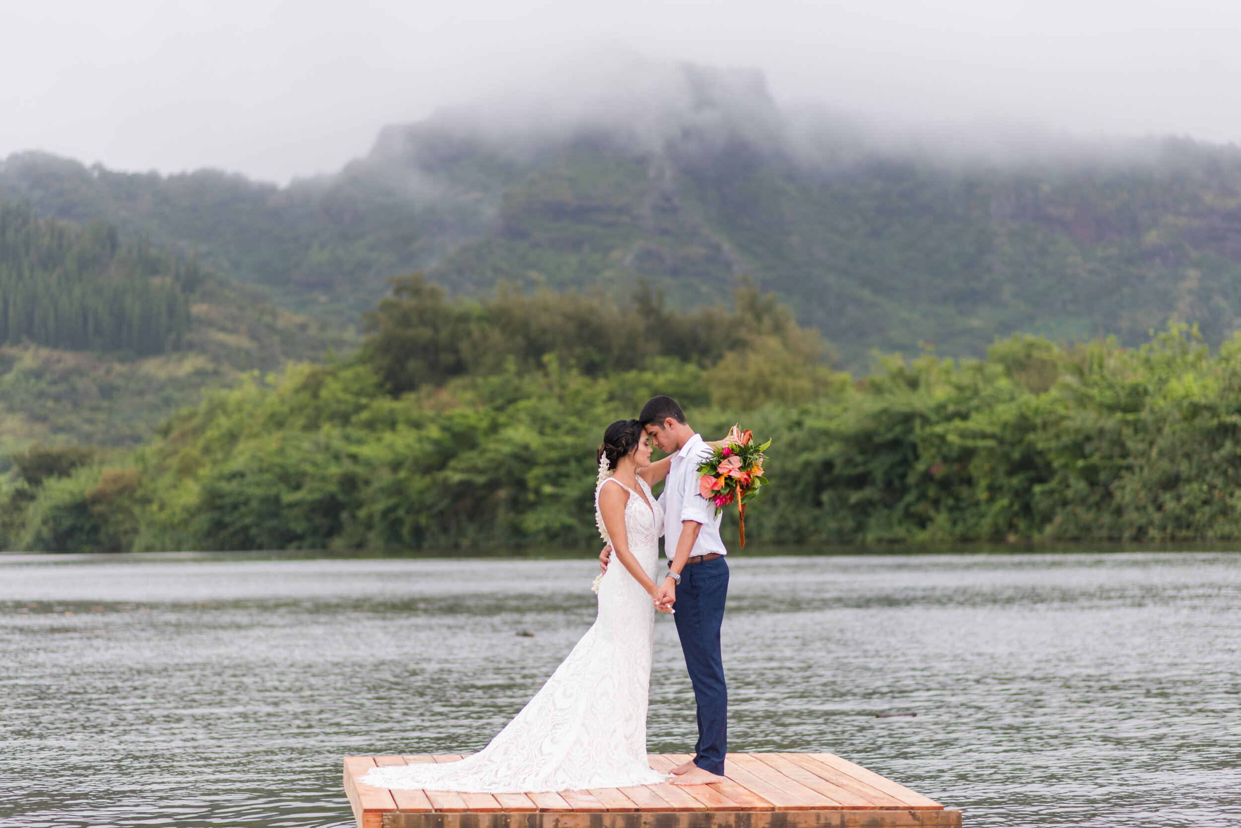 Destination Wedding Hawaii Wailua River Kauai Floating Dock Couple Photo Just Married Sleeping Giant