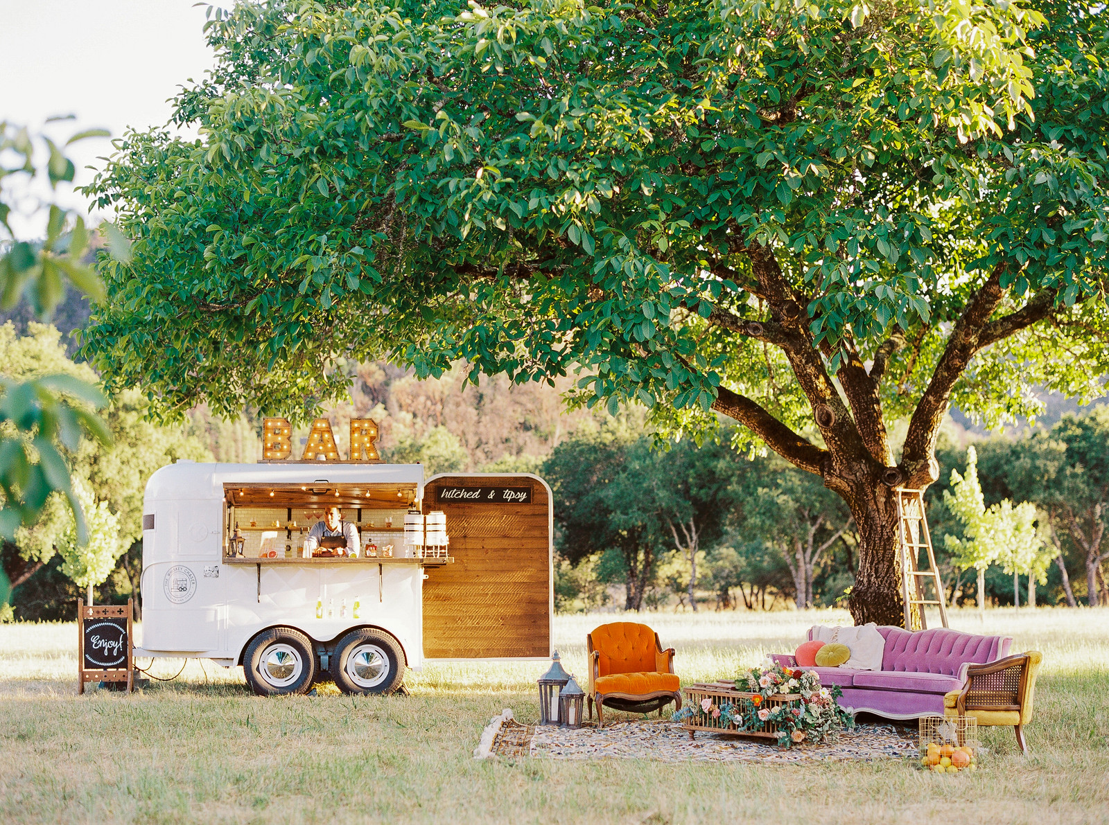 Triple SSS Ranch Calistoga Wedding Napa Valley Sonoma Planning and Design Vintage Furniture Rental One True Love Whiskey Chaser Bar