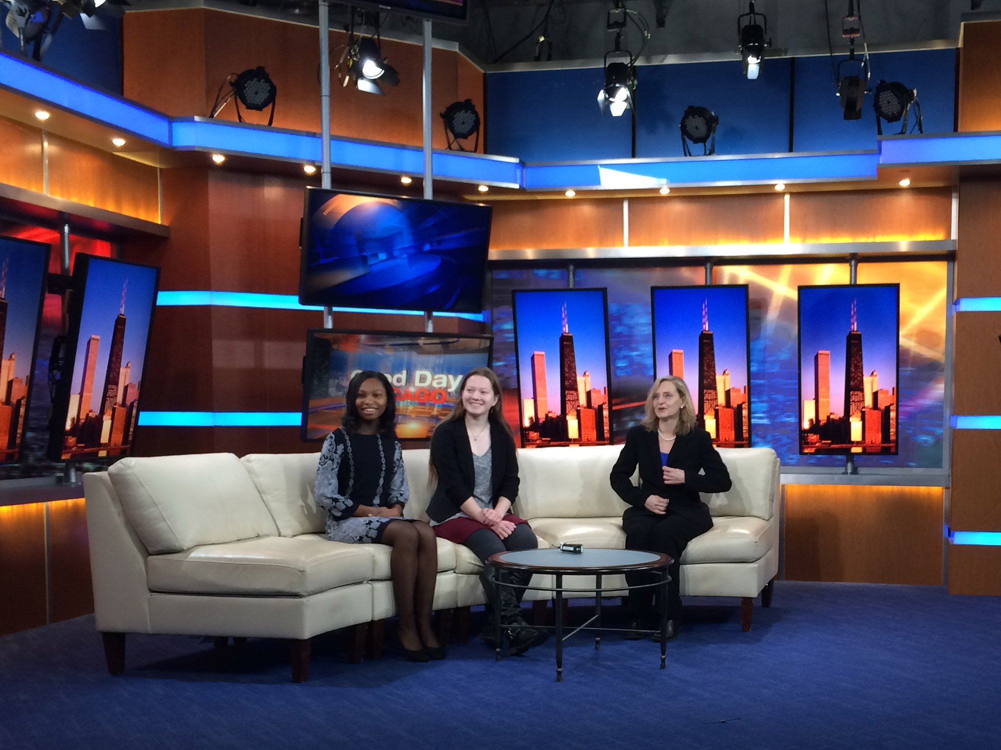 Julia Bachrach with high school students Aela Morris and Chloe Grace in preparation for interview on Fox News, 2016.