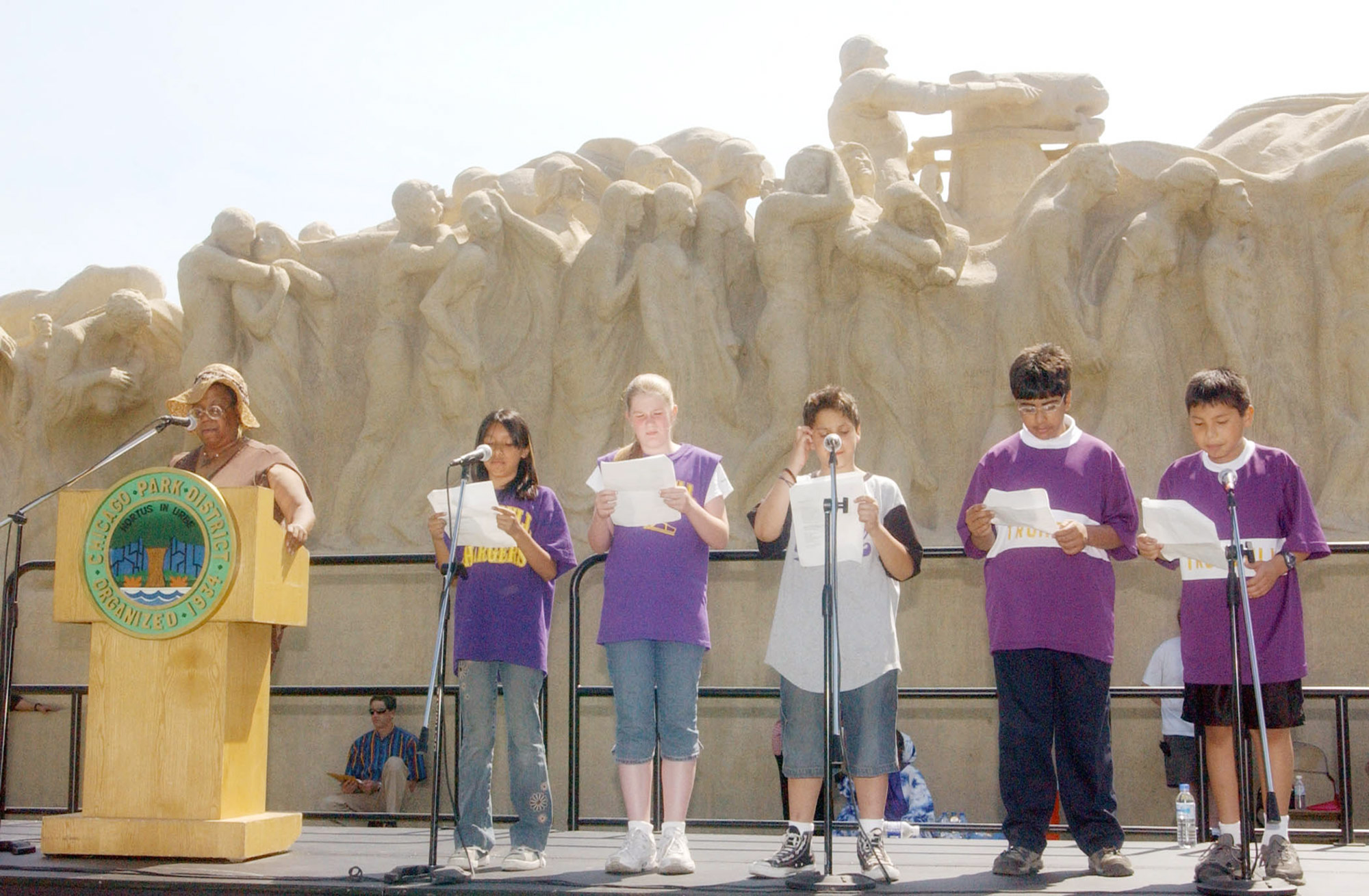 Students who won a poetry contest recited their work at Time for Poetry event, 2005.  Photo: Brooke Collins.