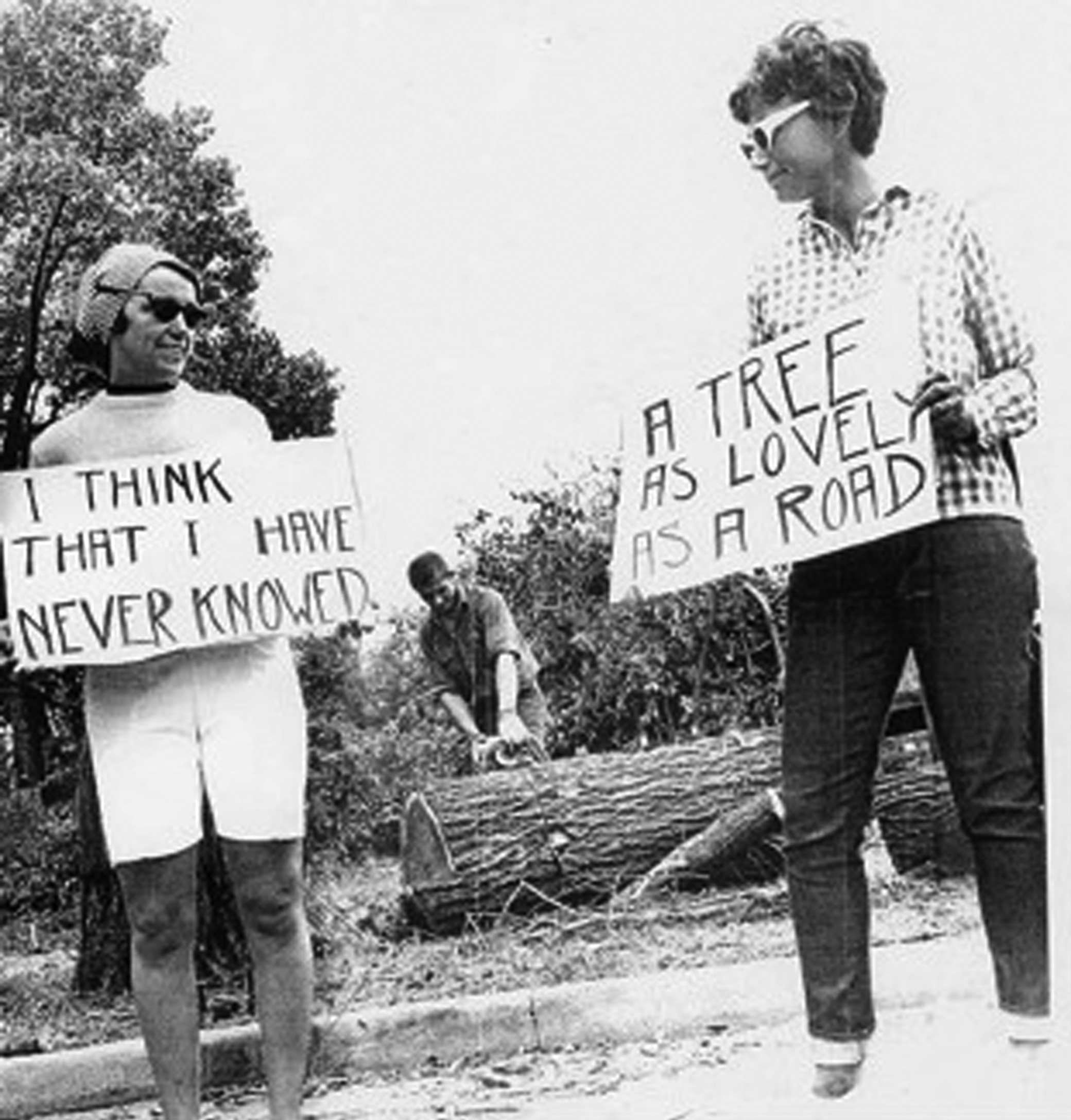 Kay Clement (on left) with unidentified demonstrator protesting the tree removal in Jackson Park, Jack Dykinga photographer, courtesy Sun-Times Media, 1965.