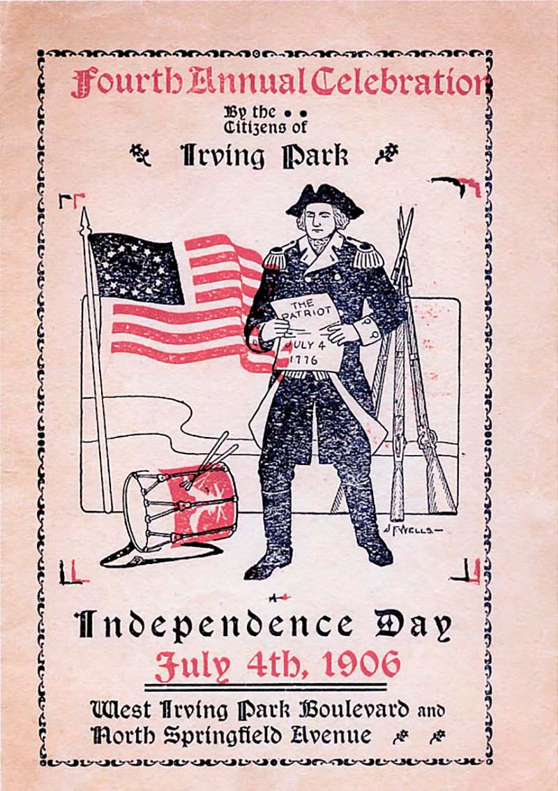 Fourth Annual Celebration by the Citizens of Irving Park, July 4th, 1906, courtesy of Northwest Chicago Historical Society.