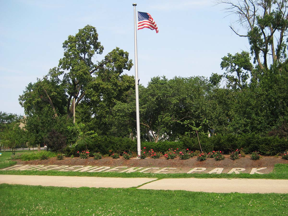 Independence Park's historic pavers and flagpole, 2008. Photograph by Julia Bachrach.