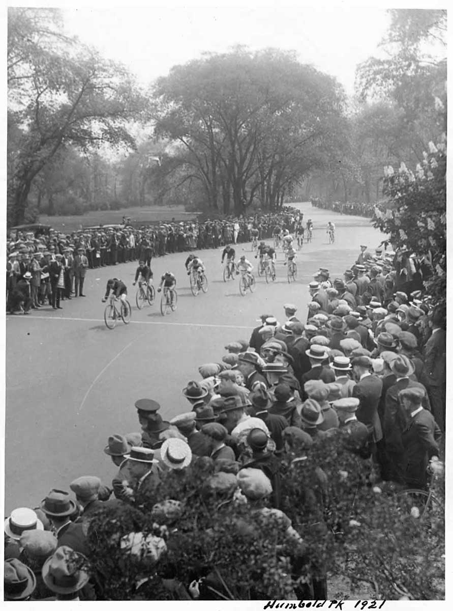 Bicycle race in Humboldt Park, 1921, Chicago Park District Records: Photographs, Special Collections, Chicago Public Library.