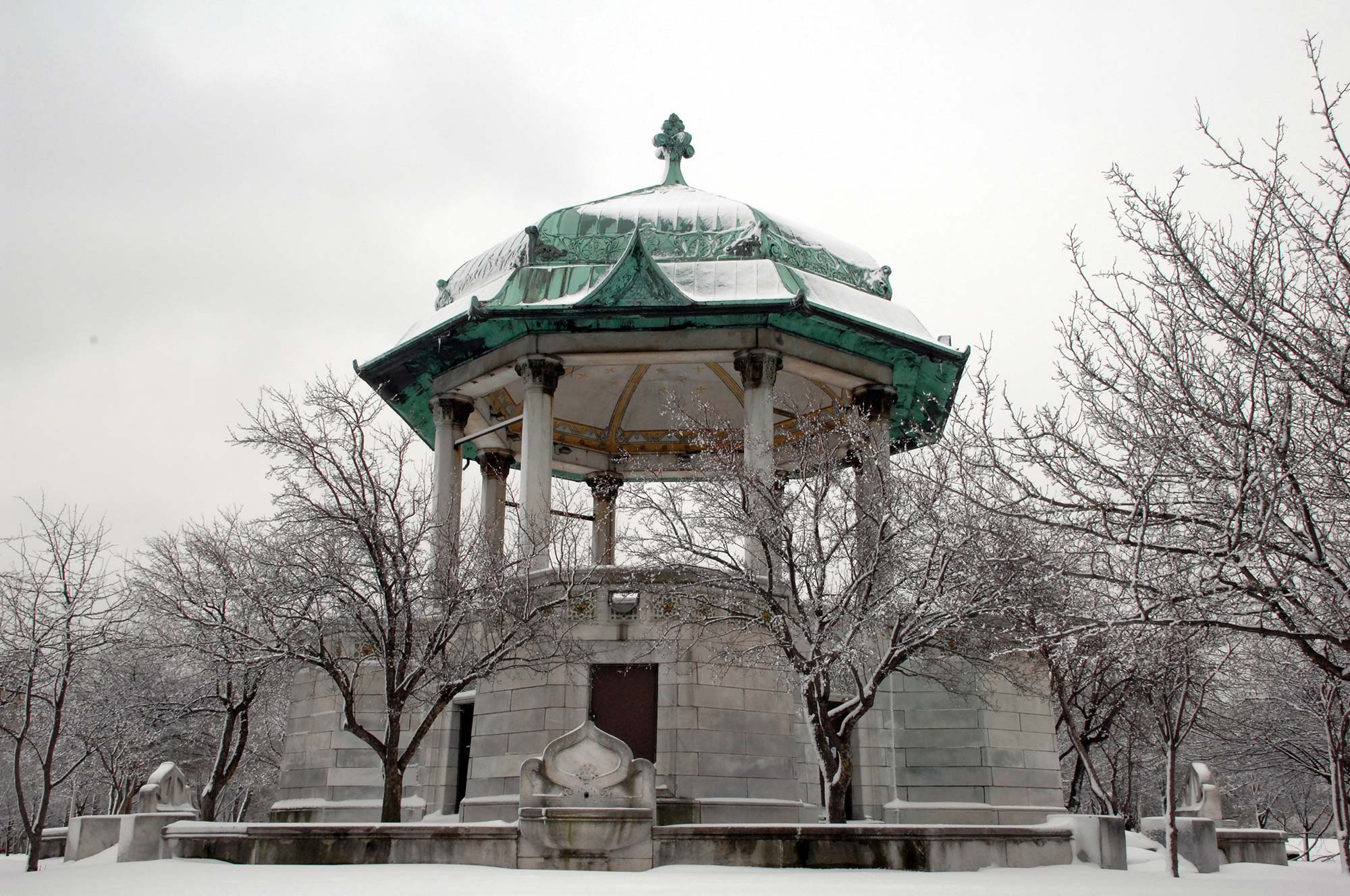 Garfield Park's Bandstand, designed by Joseph L. Silsbee remains intact today, 2007