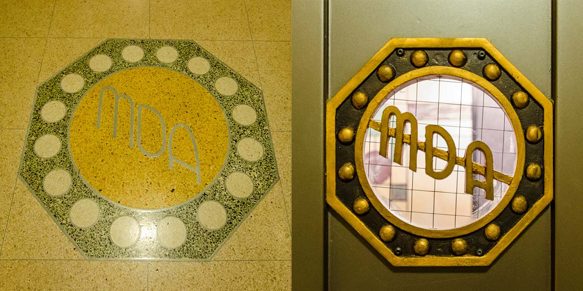 Interior decorative elements include the initials of the original Marine Drive Apartments name. Photos by Eric Allix Rogers, 2017.