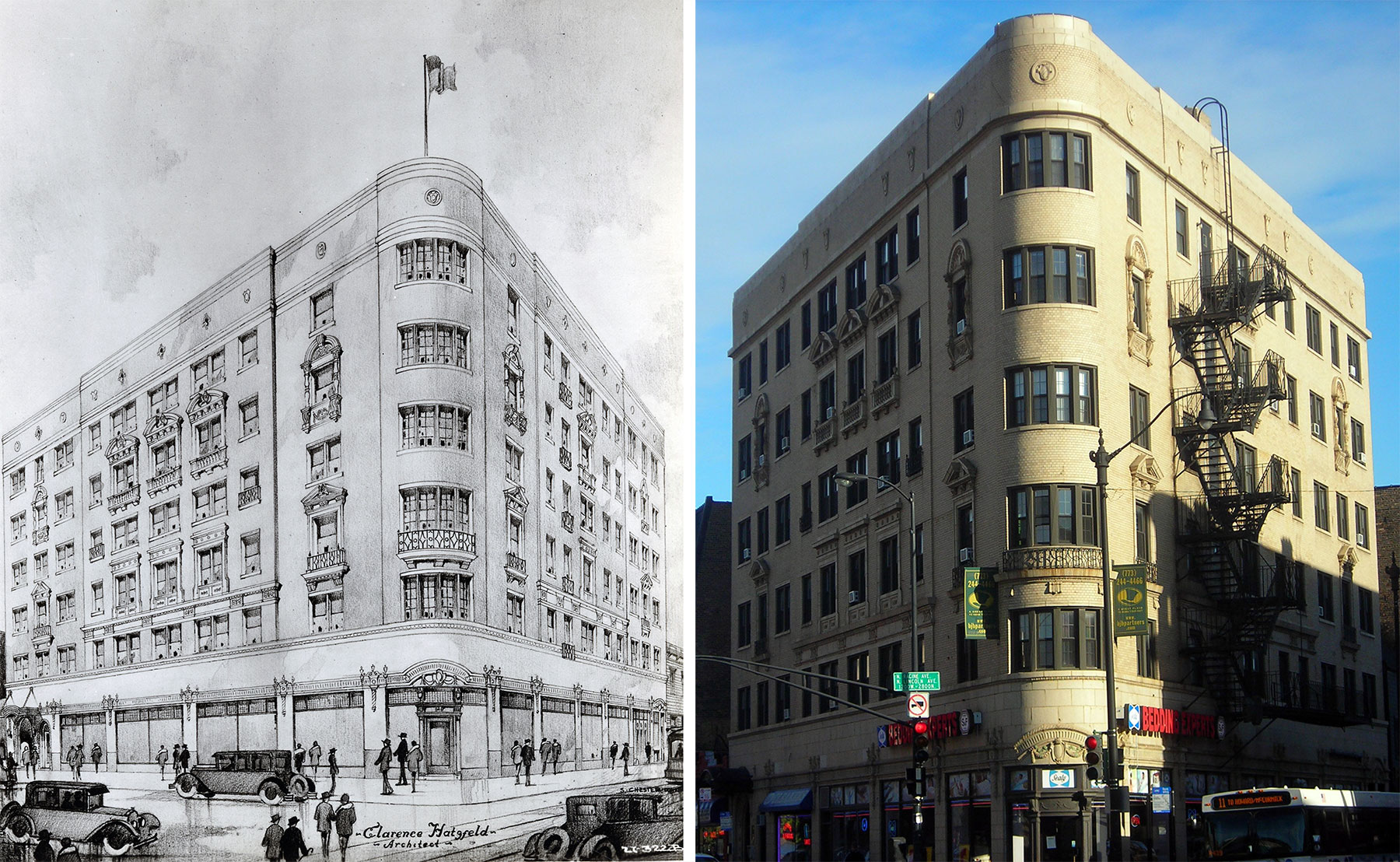 Rendering (L, ca. 1926) and contemporary photograph (R) of the building at 1157 W. Diversey Parkway, which Hatzfeld called the Powder Puff type. Photo by Julia Bachrach, 2010.