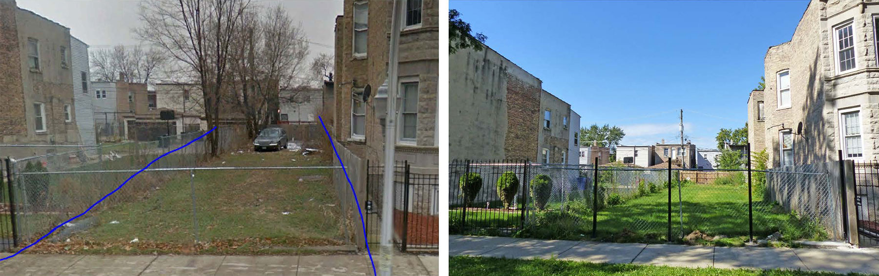 Before and after photos of a vacant lot in Englewood that benefited from the City of Chicago's Large Lots Program, 2017.