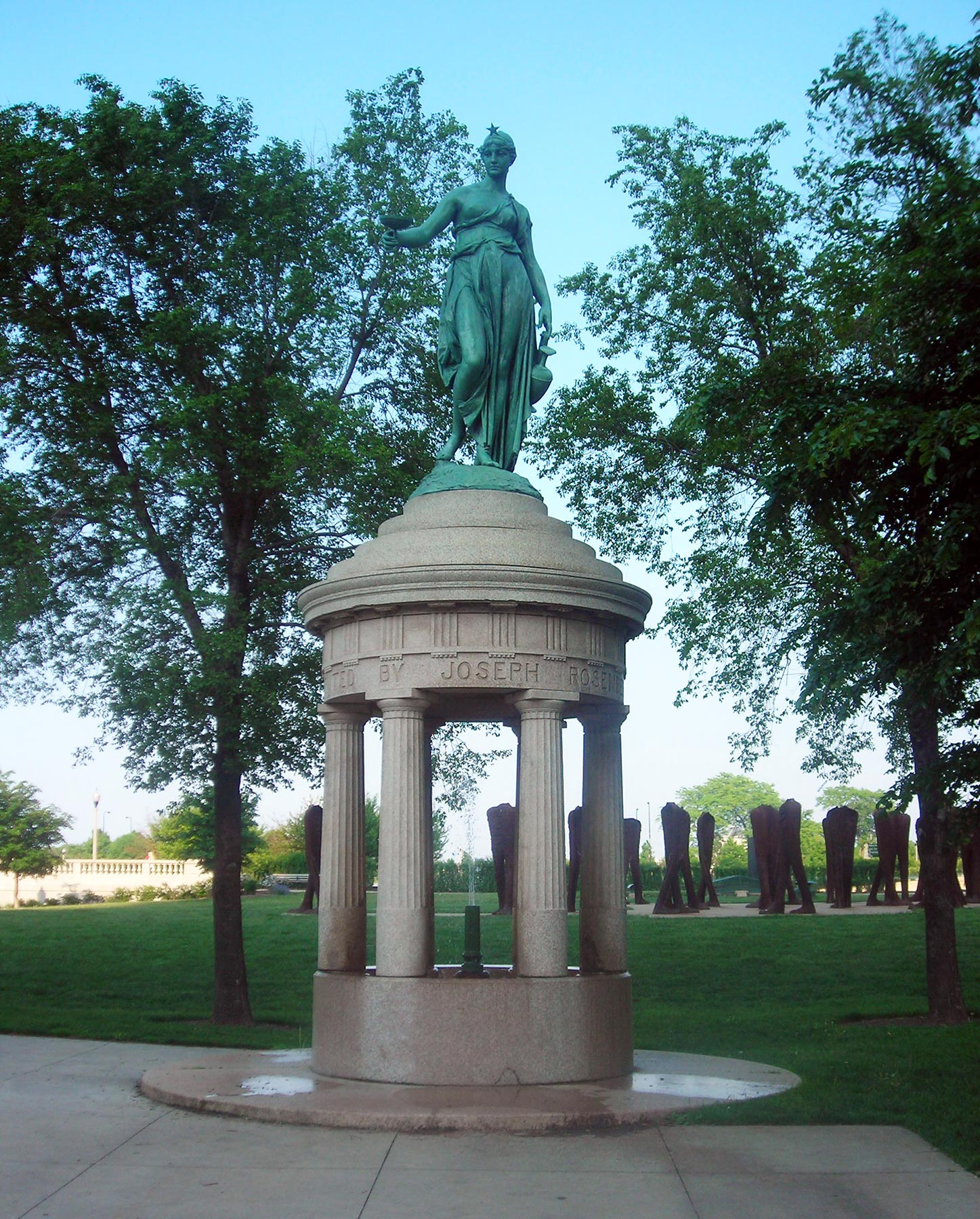 Grant Park's 1893  Rosenberg Fountain  with 2006 Agora in the background. Photo by Julia Bachrach.