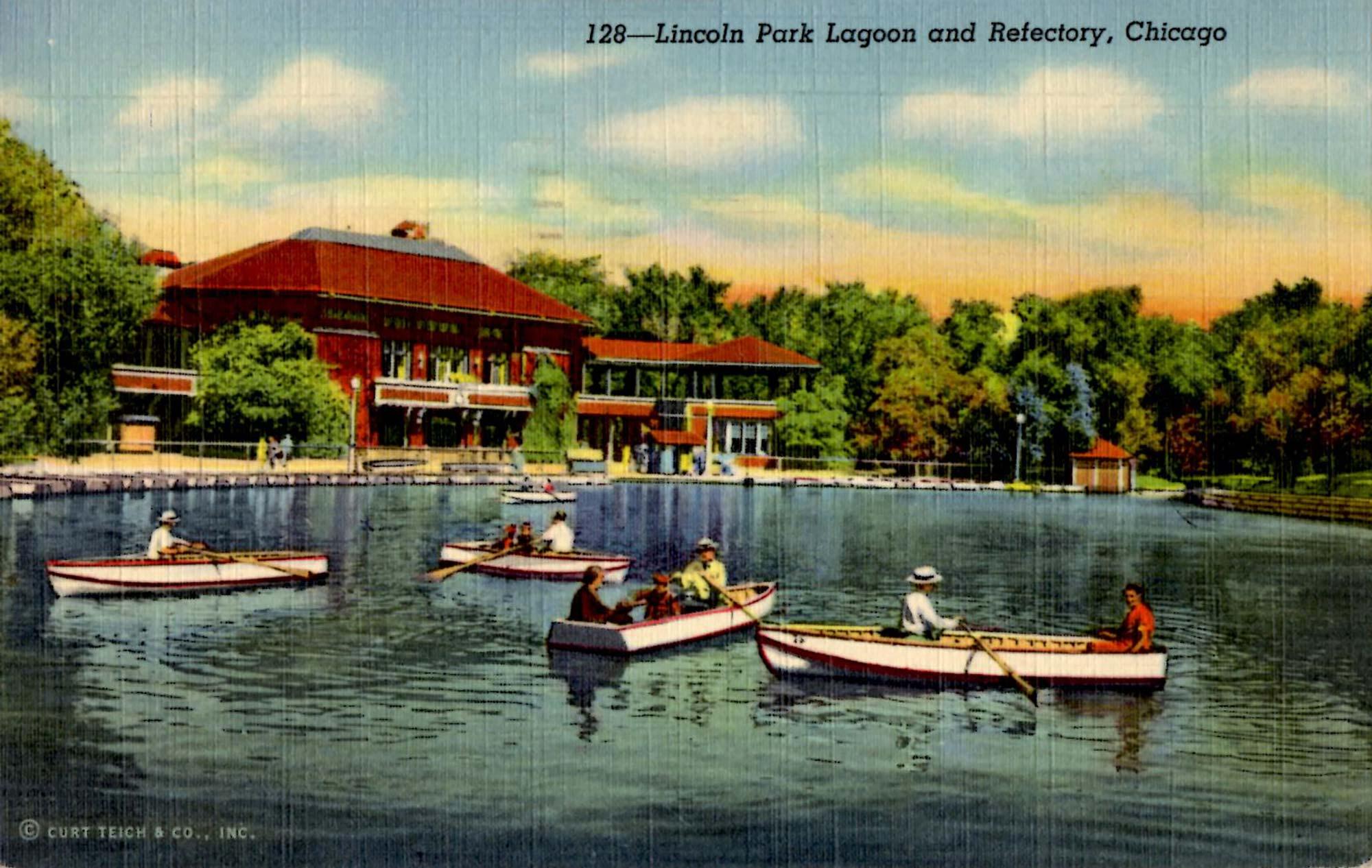 Postcard view Café Brauer (Lincoln Park Refectory), ca. 1940.