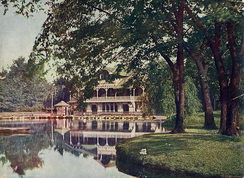 Postcard view of William Le Baron Jenney's 1882 Lincoln Park Refectory.