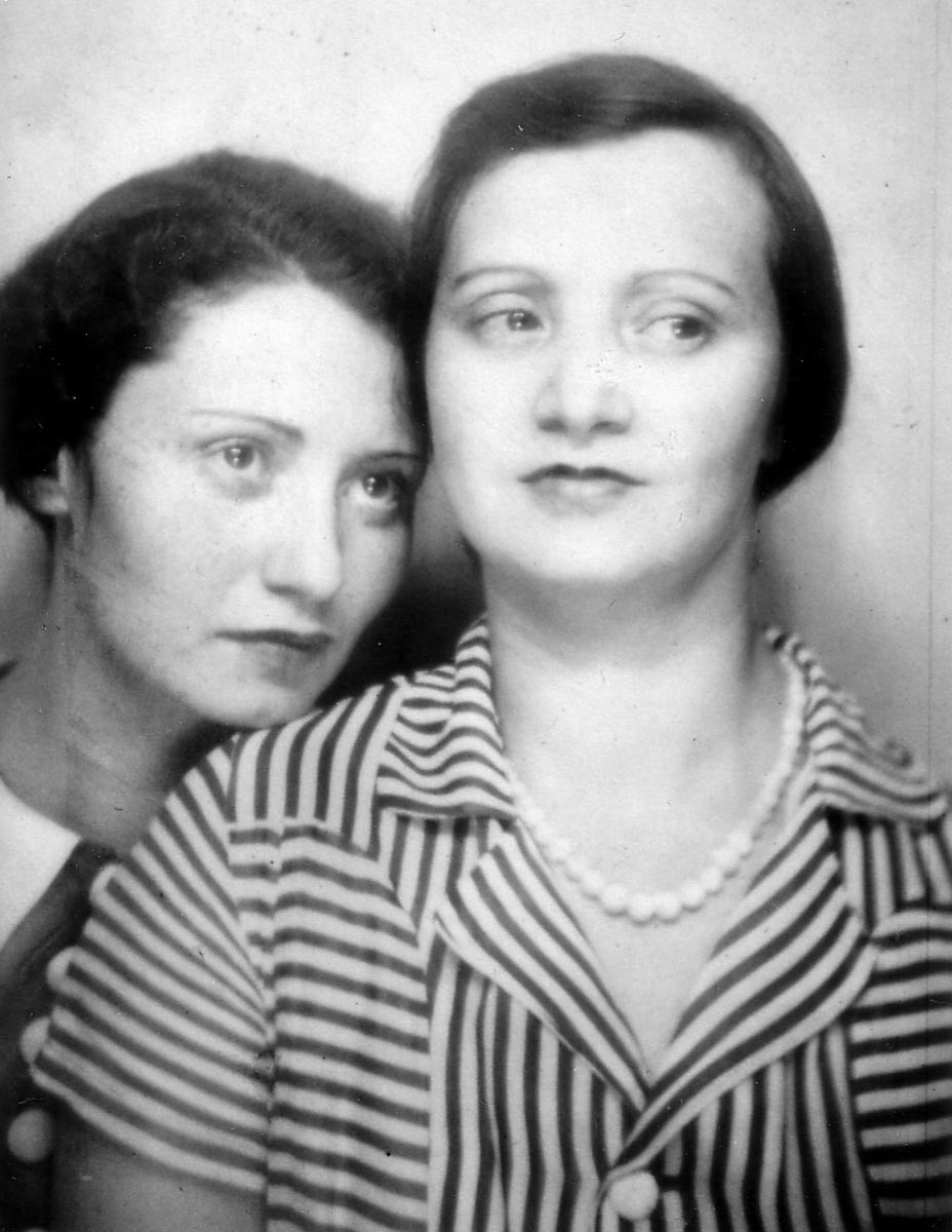 My grandmother, Piri Klein Neumann, left, and her aunt Sharika Farkas, right, had their photograph taken in a photo booth at  A Century of Progress , 1934.