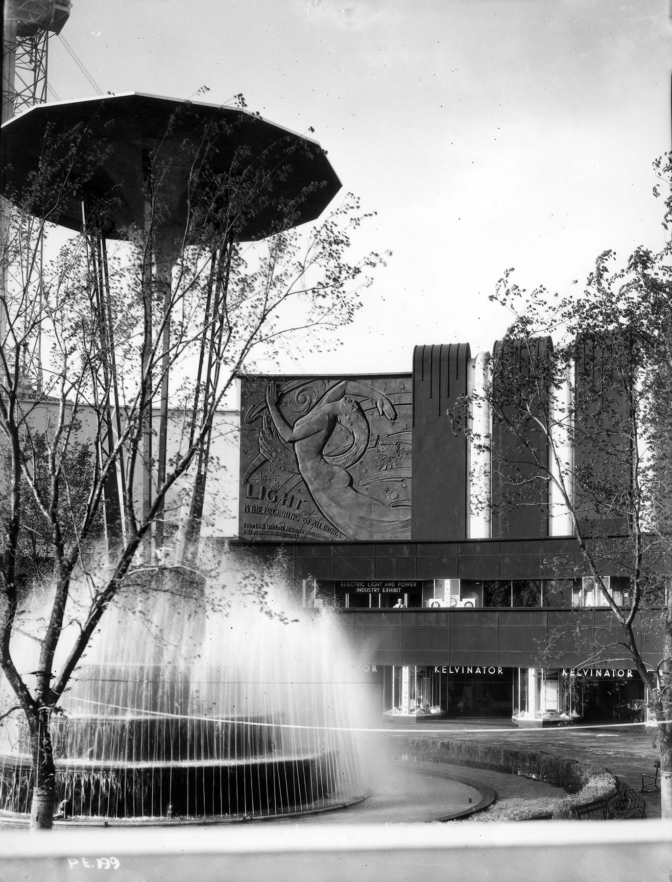 Morning glory fountain in the Electrical Court. Chicago Park District Records: Photographs, Special Collections, Chicago Public Library.